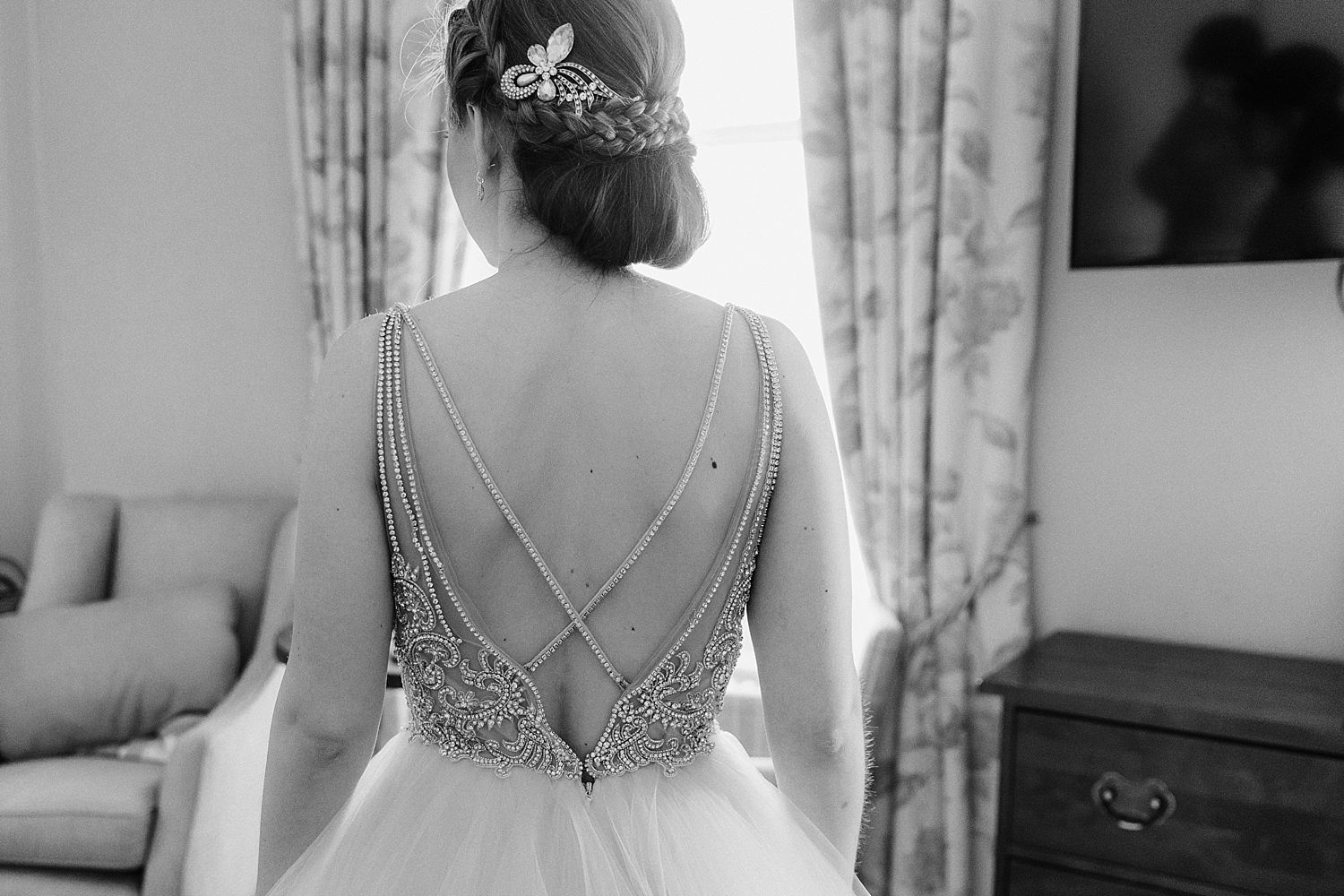 Beautiful beaded detail of back of wedding dress at Belsfield Hotel