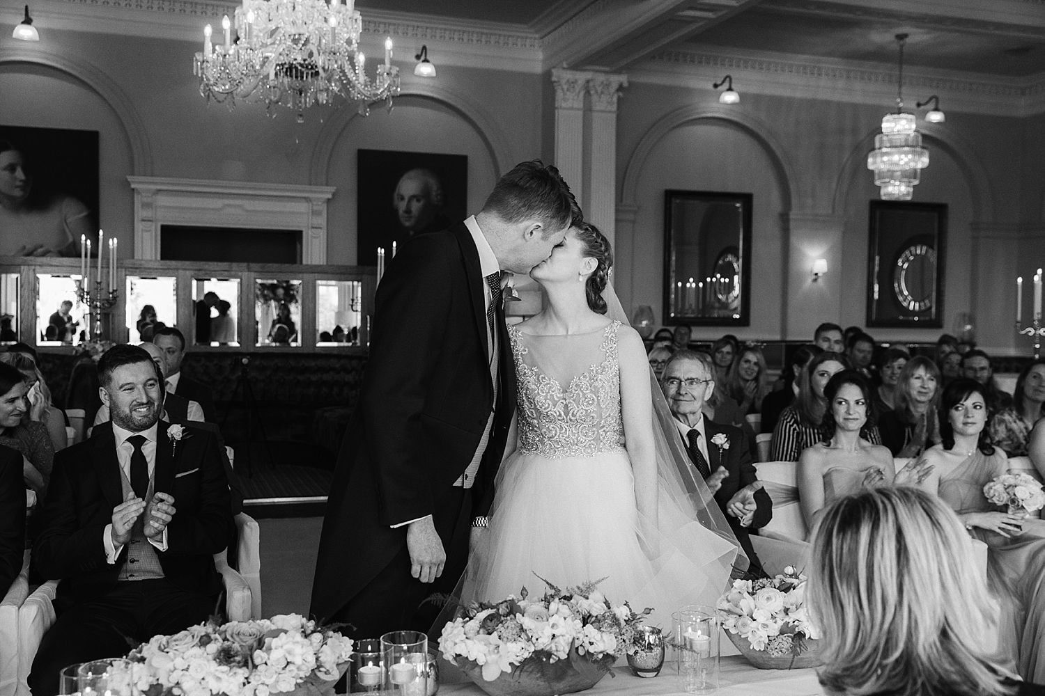 Bride and groom share first kiss at Laura Ashley Belsfield Hotel wedding