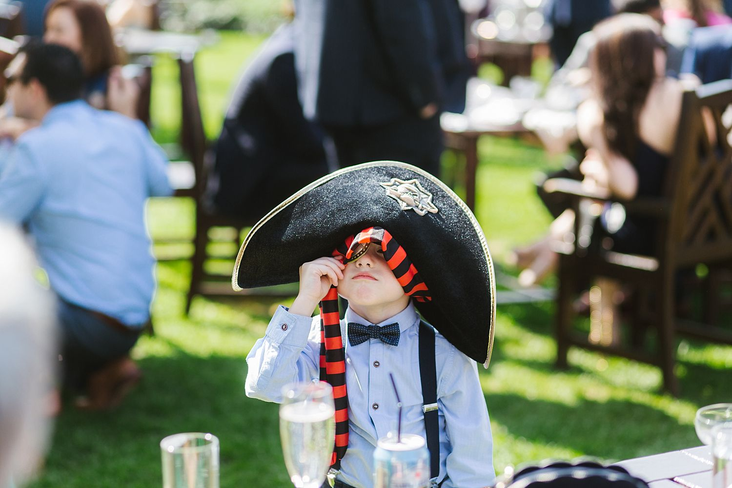 Little guest in pirate hat at Lake District wedding
