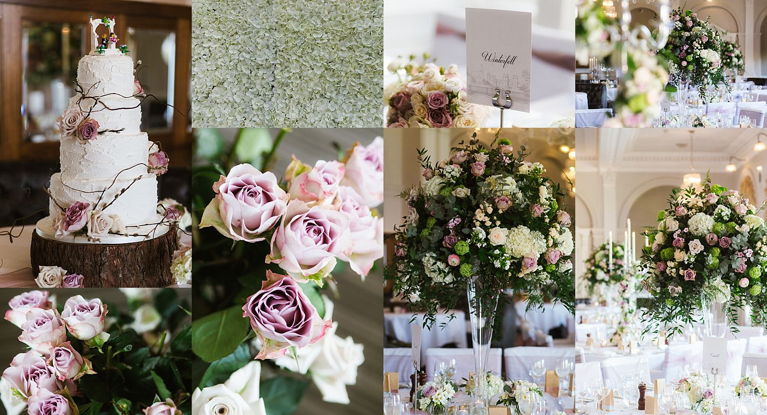 Collage of detail shots of flowers, table settings and wedding cake at Laura Ashley Belsfield Hotel, summer wedding