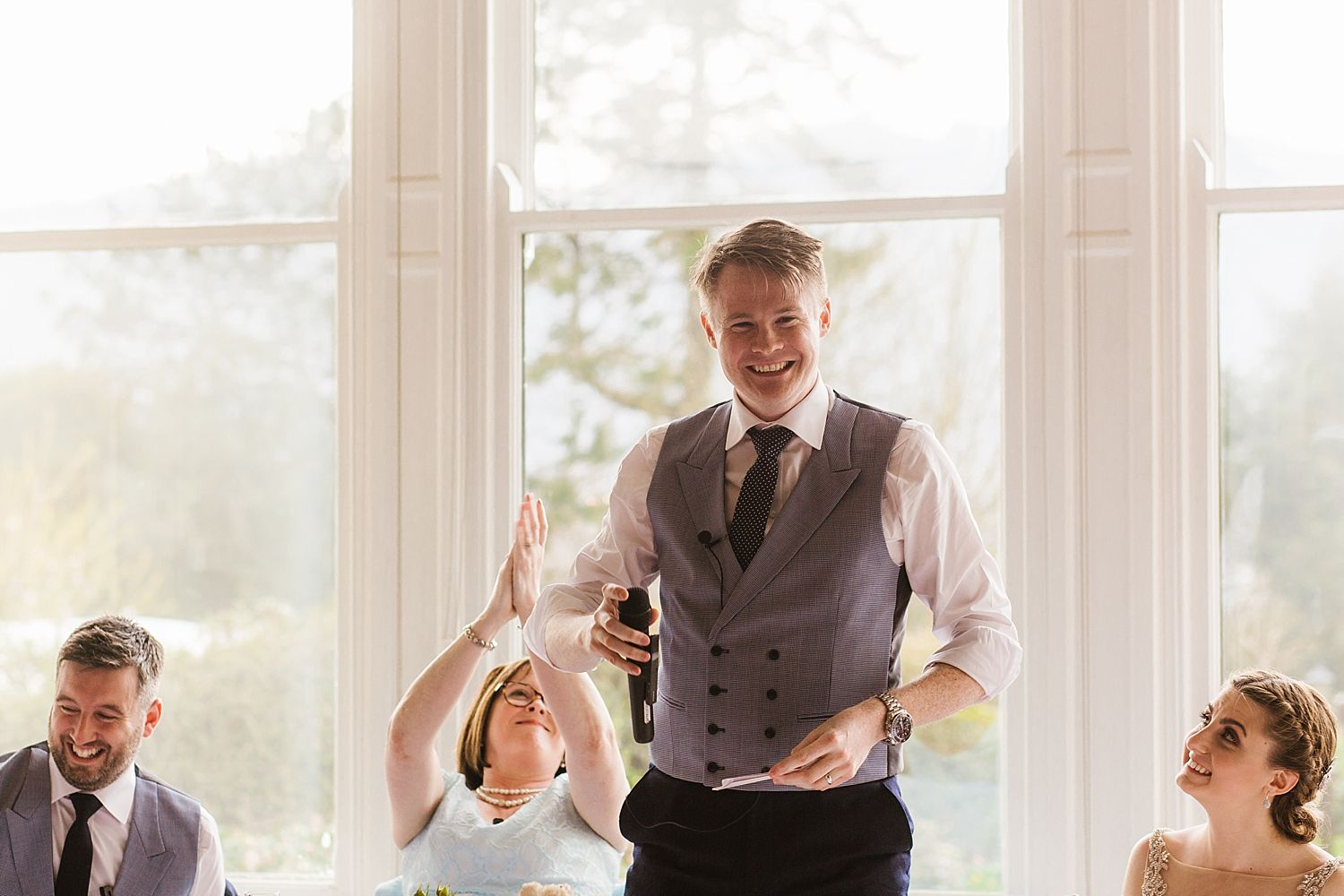 Groom makes speech at Belsfield Hotel wedding