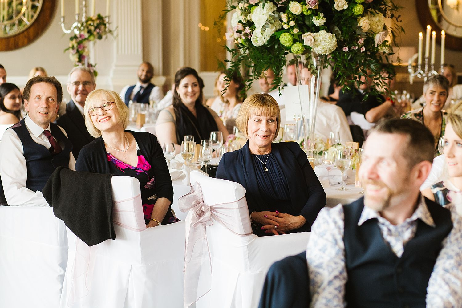 Guest reaction to speech at Laura Ashley, Belsfield Hotel wedding