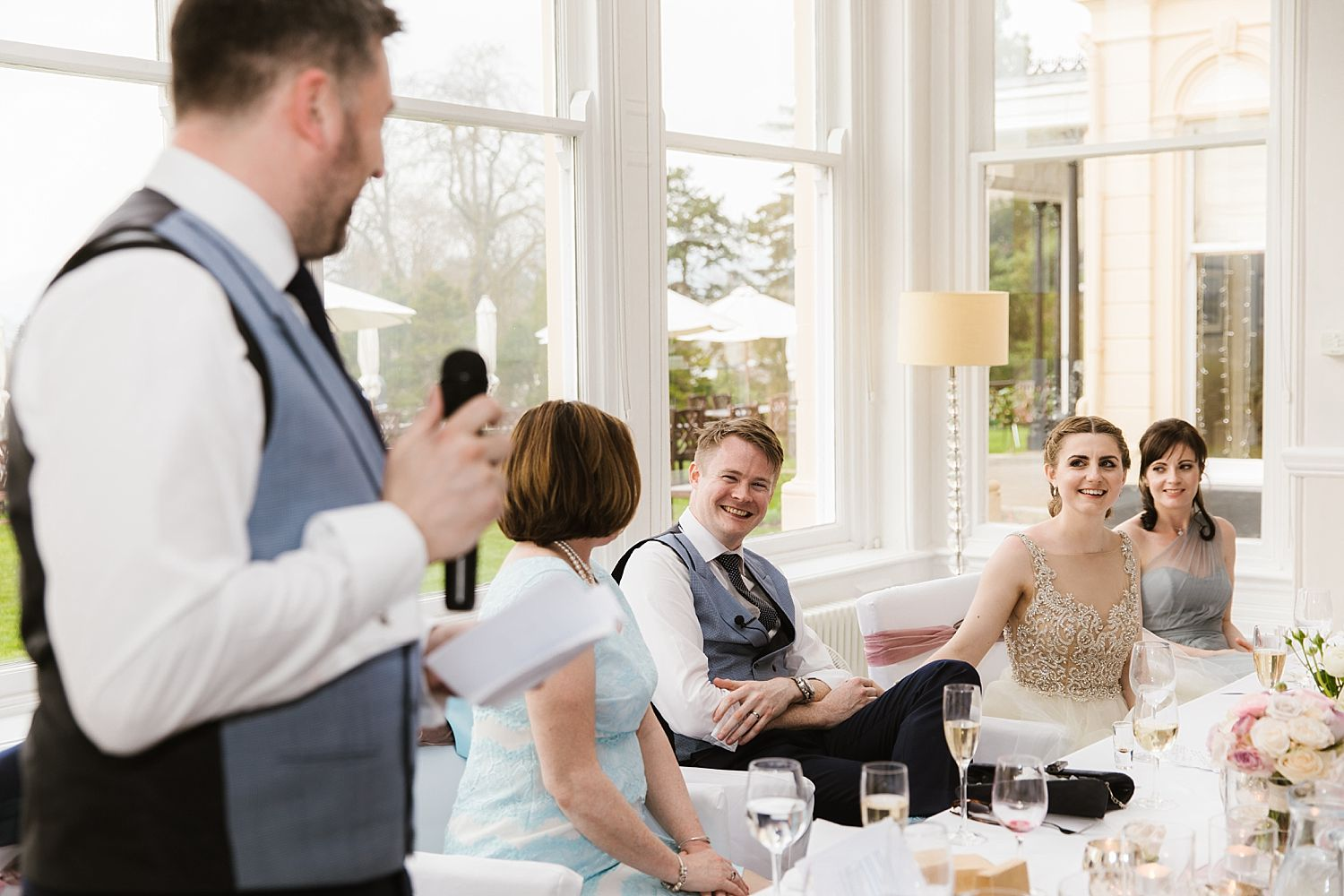 Best man makes speech at Laura Ashley Hotel, Lake District wedding