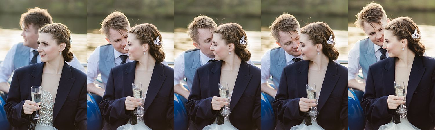 sequence of romantic pictures of bride and groom together, bride wearinf groom's jacket on board Lake District cruiser on Windermere after Belsfield Hotel wedding