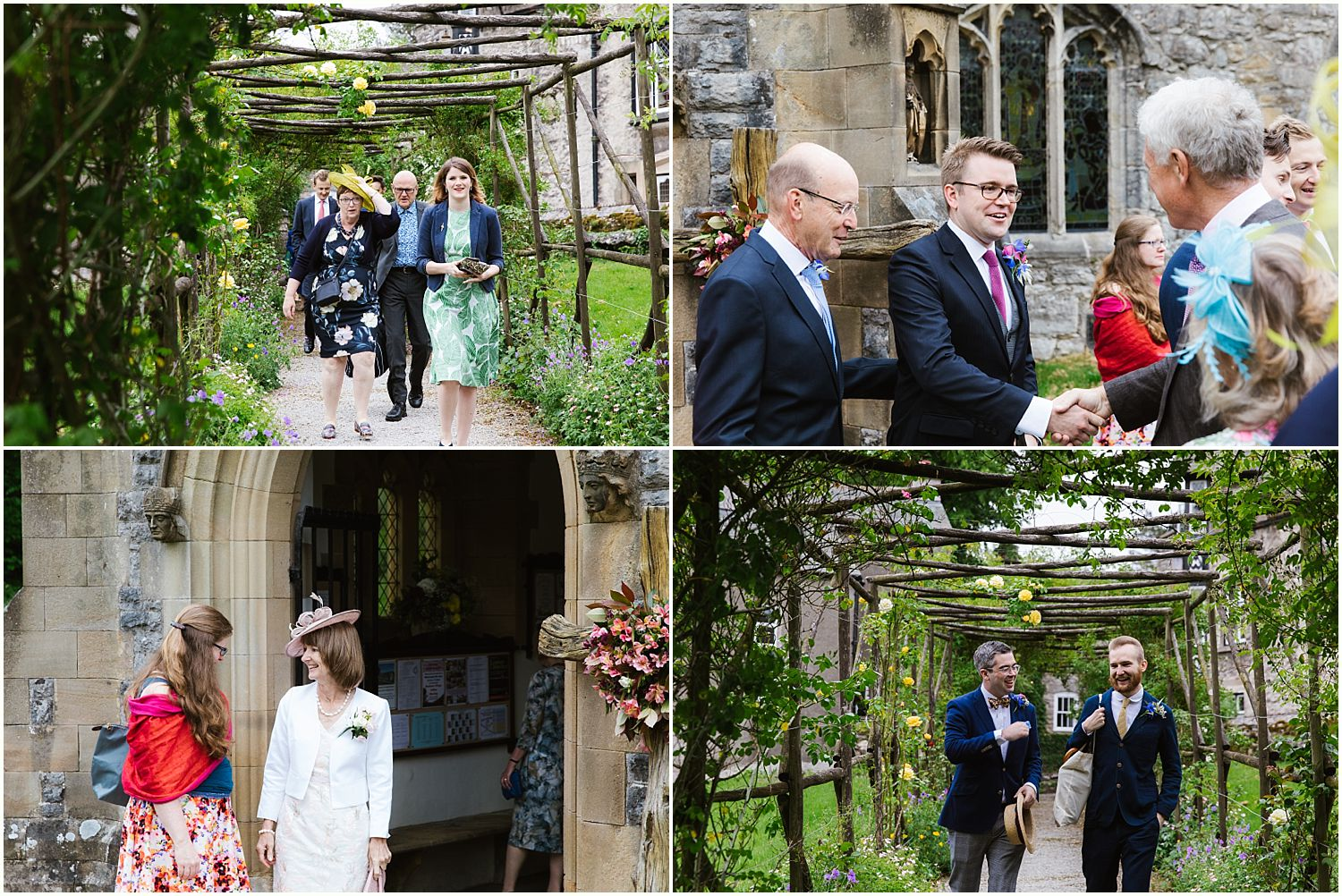Montage of guests arriving for wedding ceremony in South Lakeland
