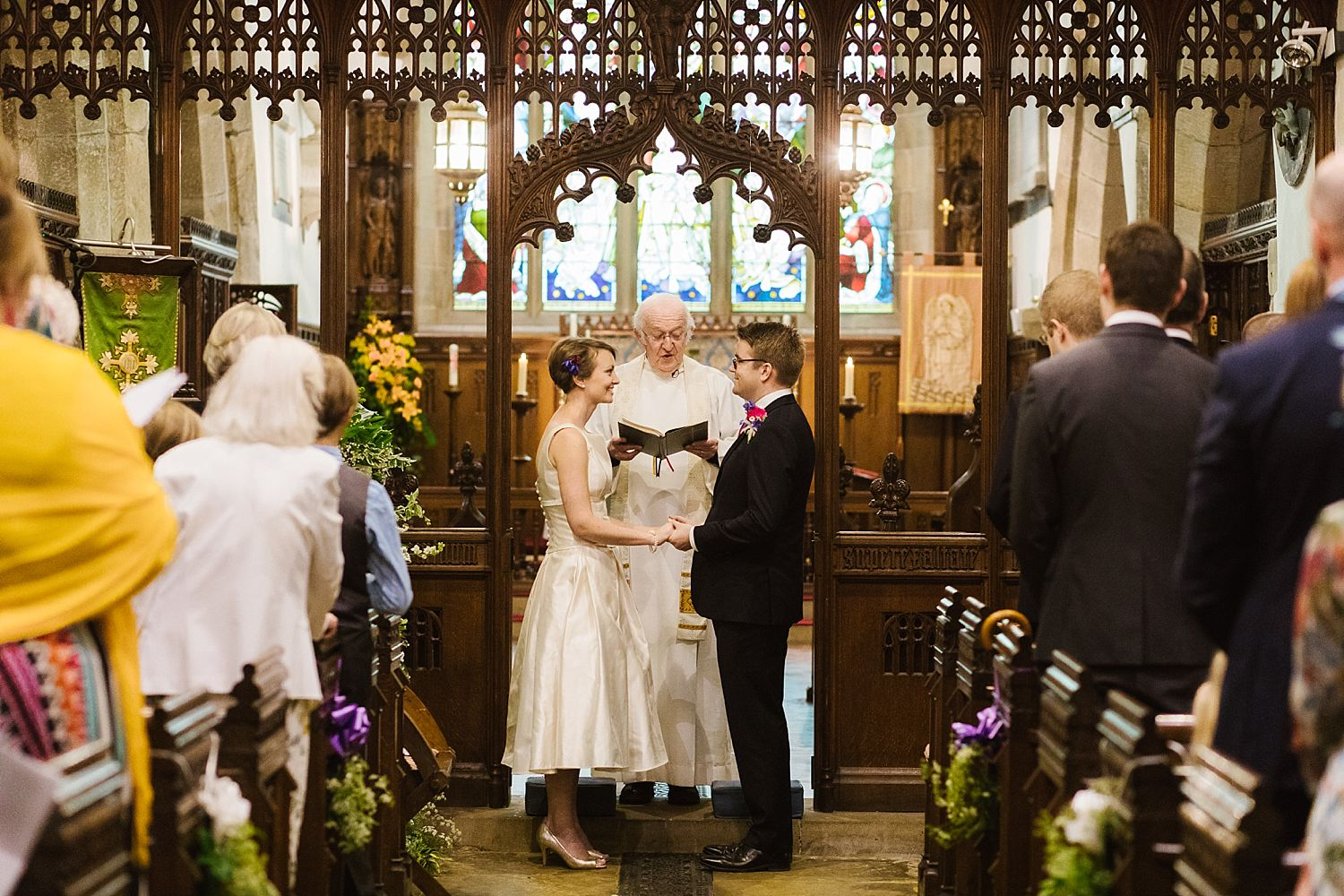 Bride and groom say 'I do' in church at Park House Barn, Milnthorpe wedding