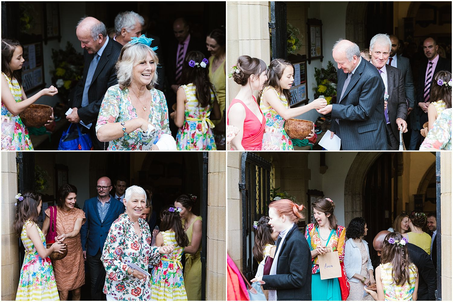 Collection of images of guests mingling outside South Lakeland church for Park House Barn wedding