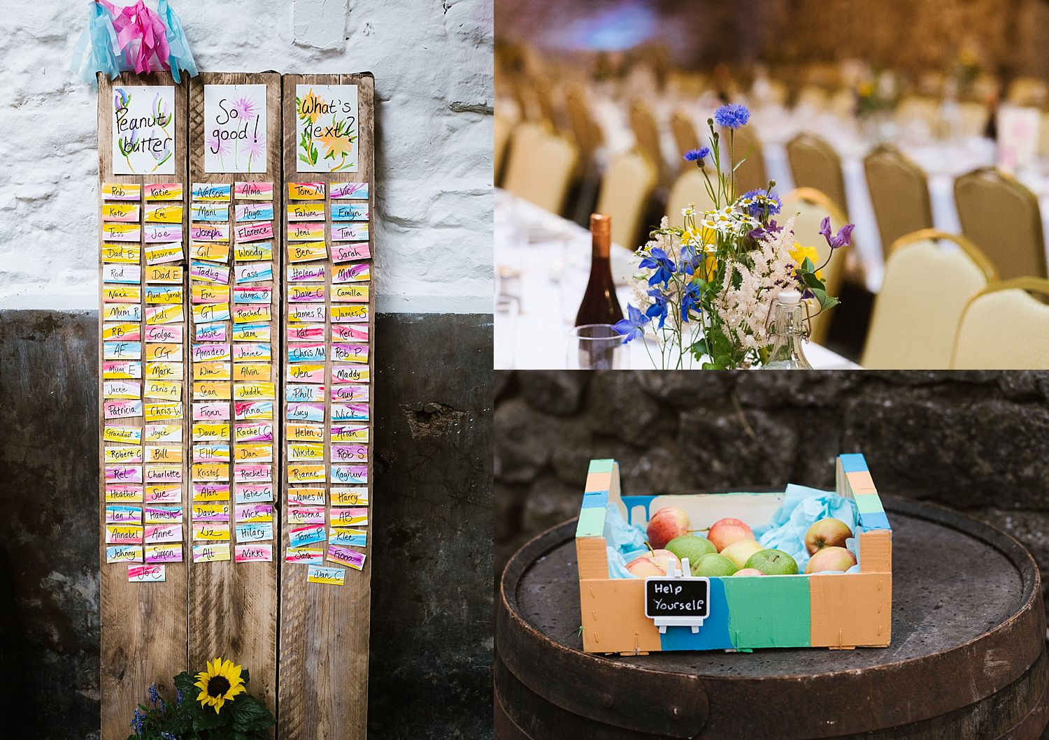 wedding details and table plan at Park House Barn wedding