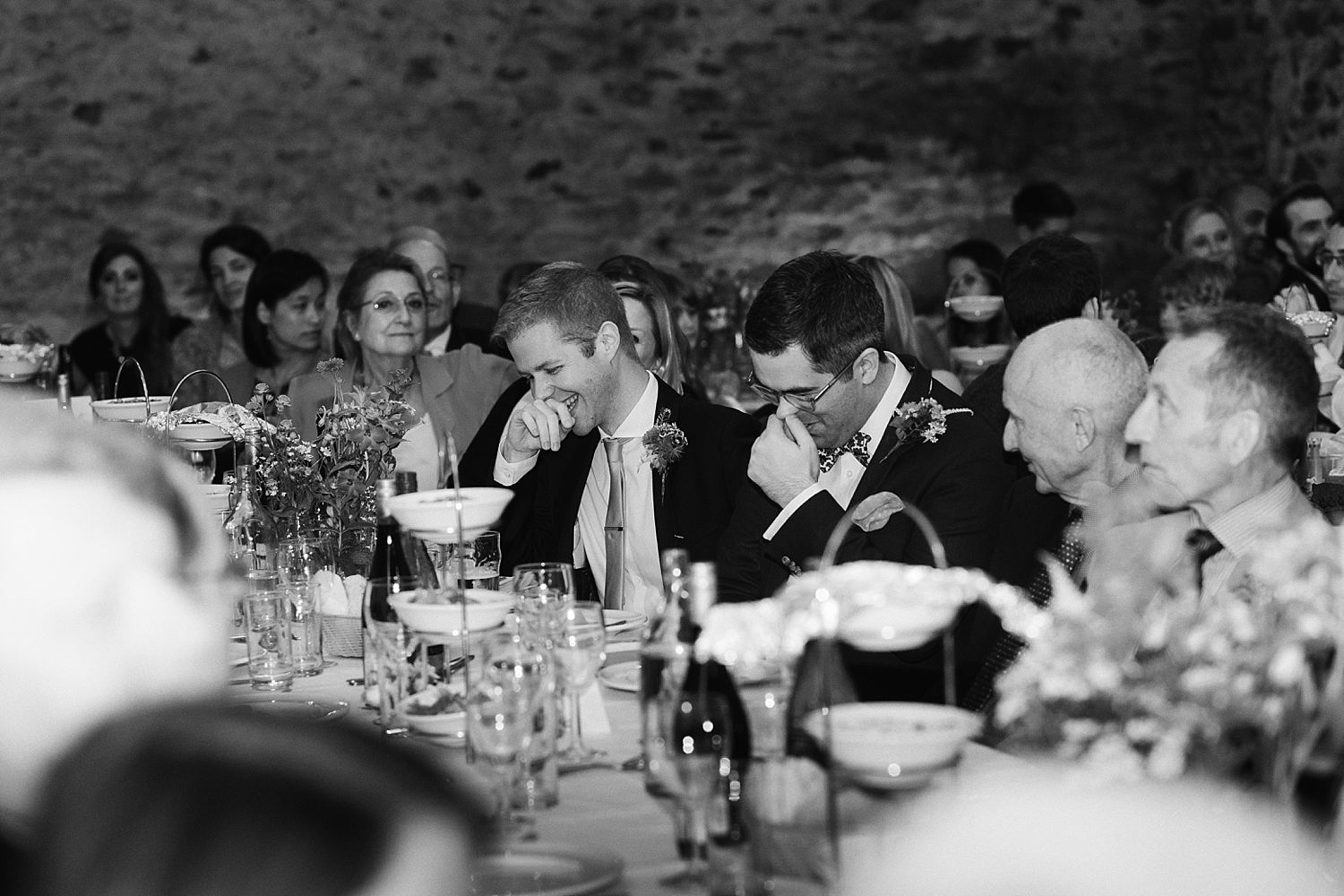 Guests enjoying speeches at Park House Barn wedding