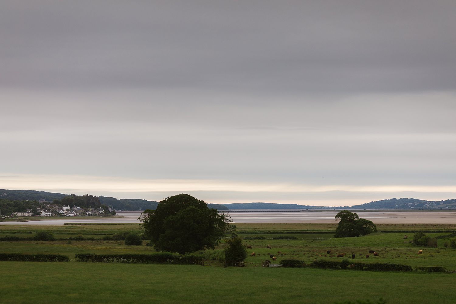 View of estuary from Park House Barn wedding venue in Heversham, Cumbria