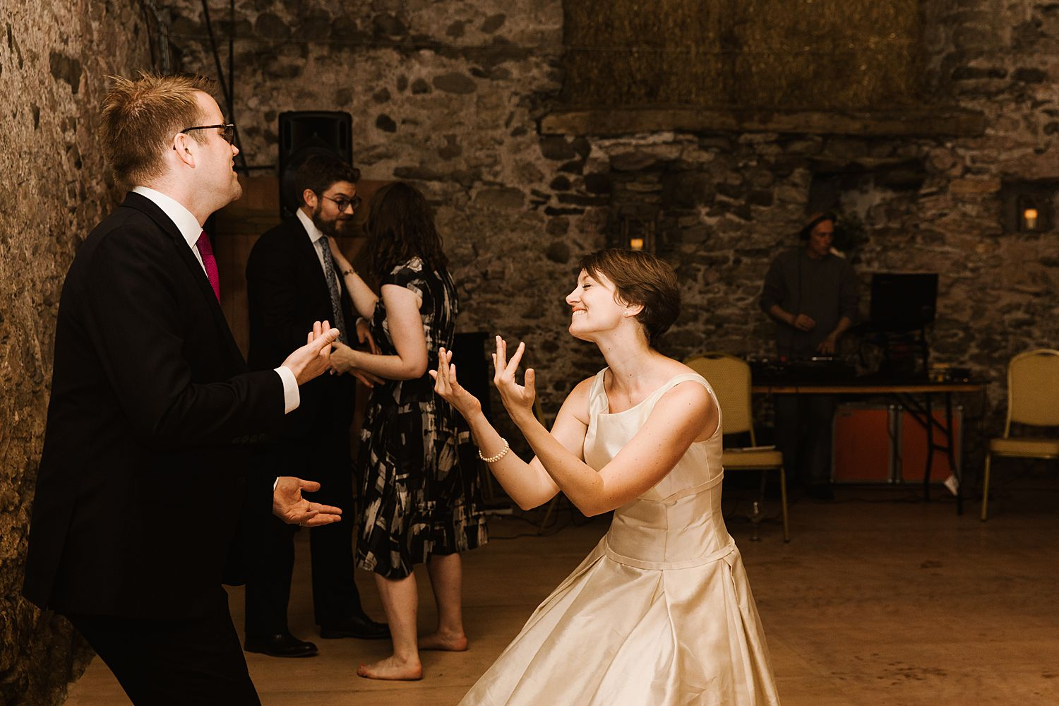 Bride dancing the night away at Park House Barn wedding reception