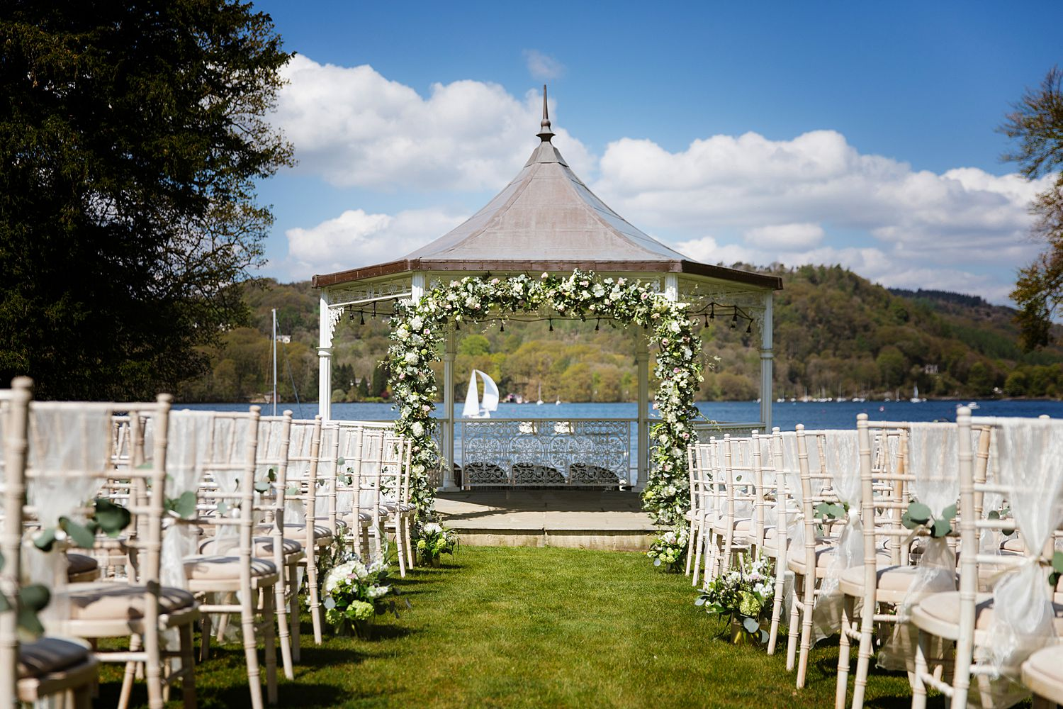 Storrs Hall wedding , Bowness on Windermere with view of the lake