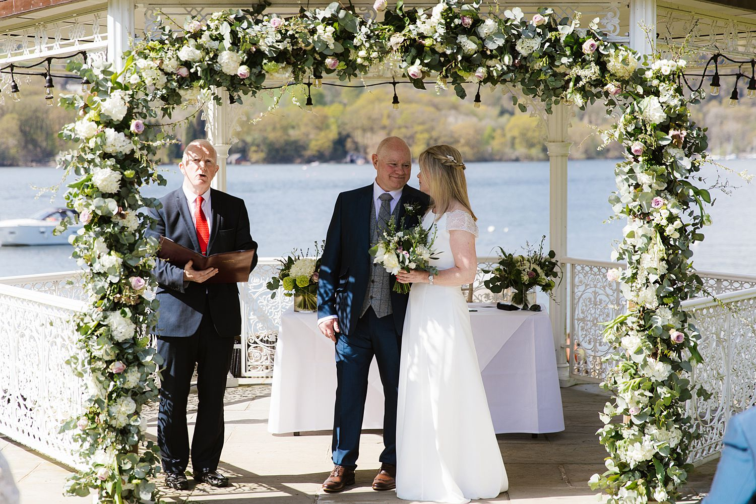 Outdoor ceremony, Lake Windermere, Storrs Hall wedding venue