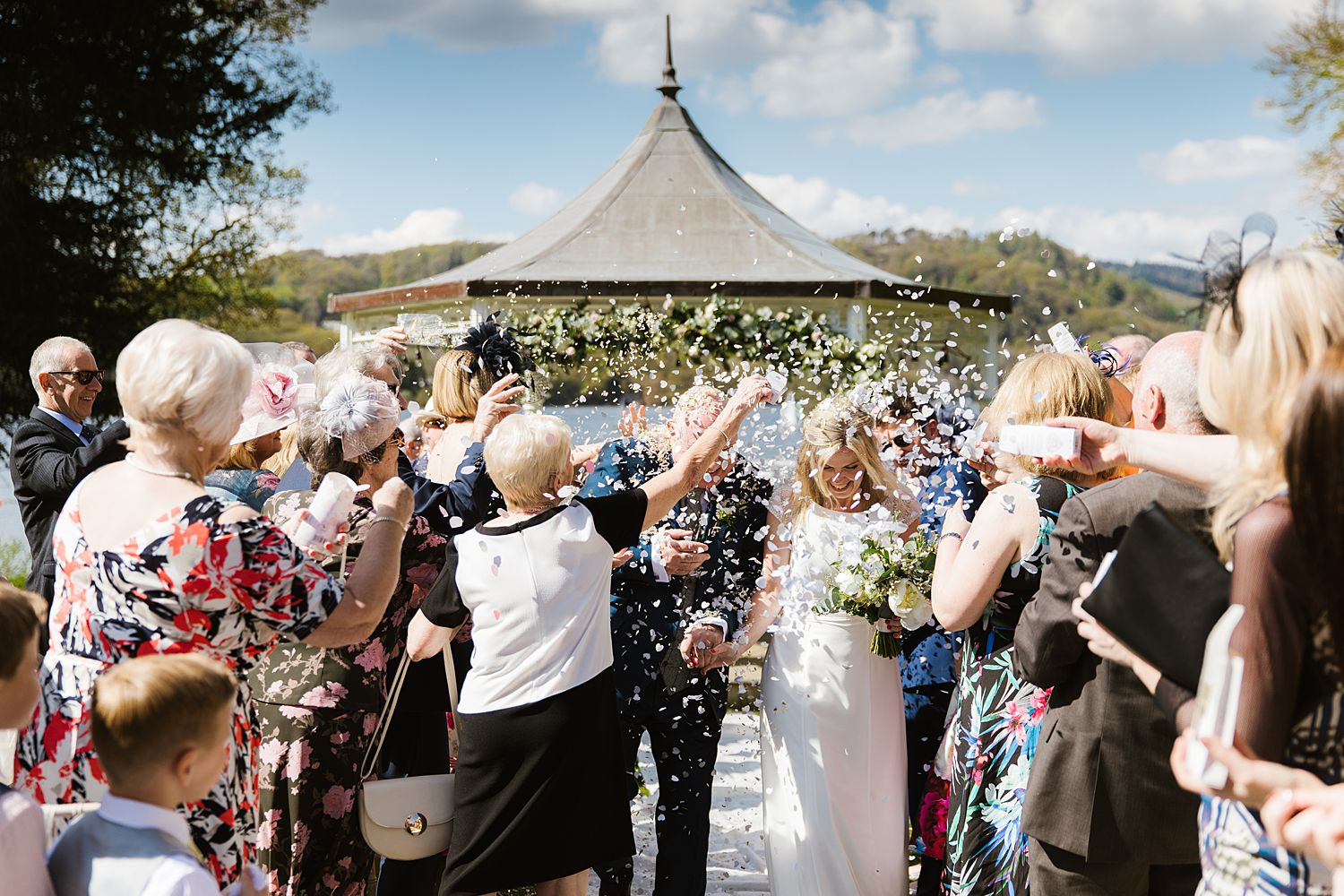 Storrs Hall Wedding photography. Confetti shot at the outdoor ceremony,