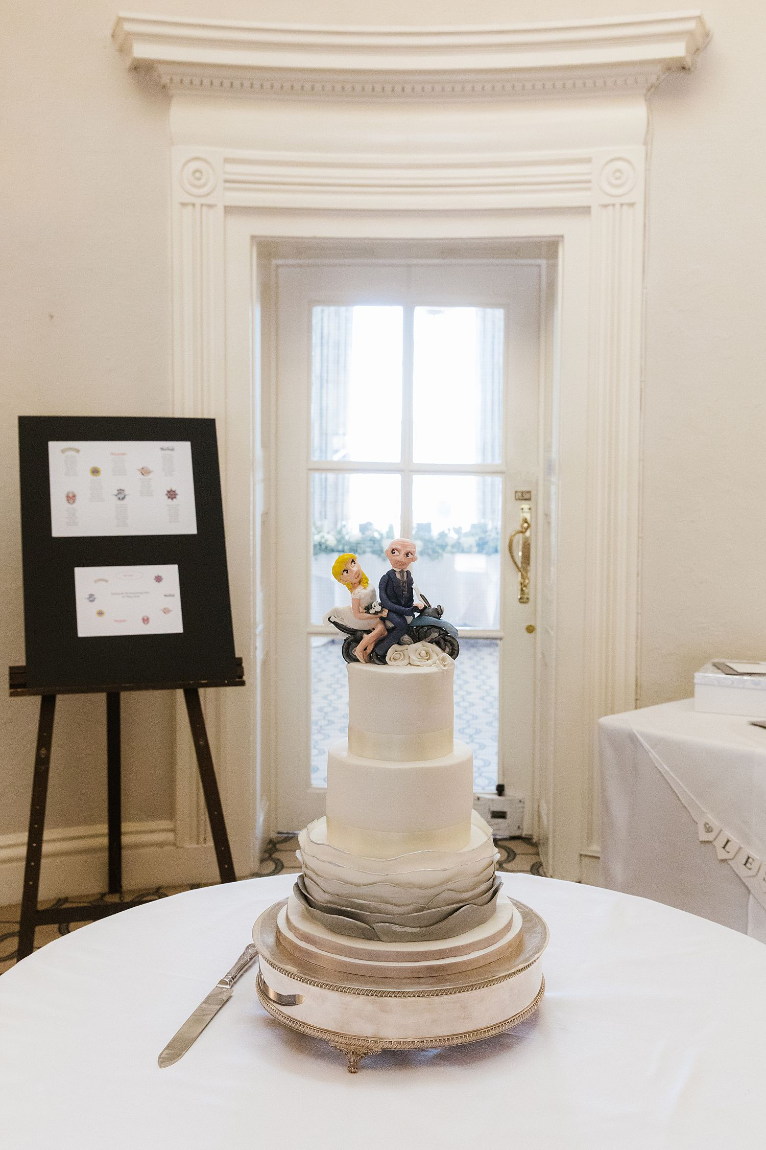 Wedding cake and table plan for Storrs Hall wedding, Bowness on Windermere