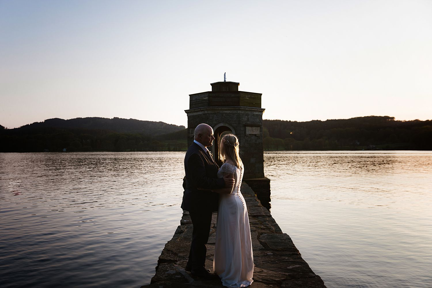 Sunset at the folly at the end of the jetty at Storrs Hall Hotel, Lake Windermere