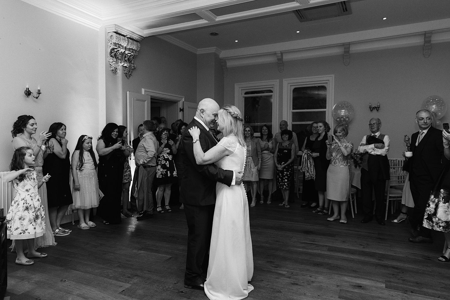 First dance at evening reception of Lake District wedding venue, Storrs Hall Hotel