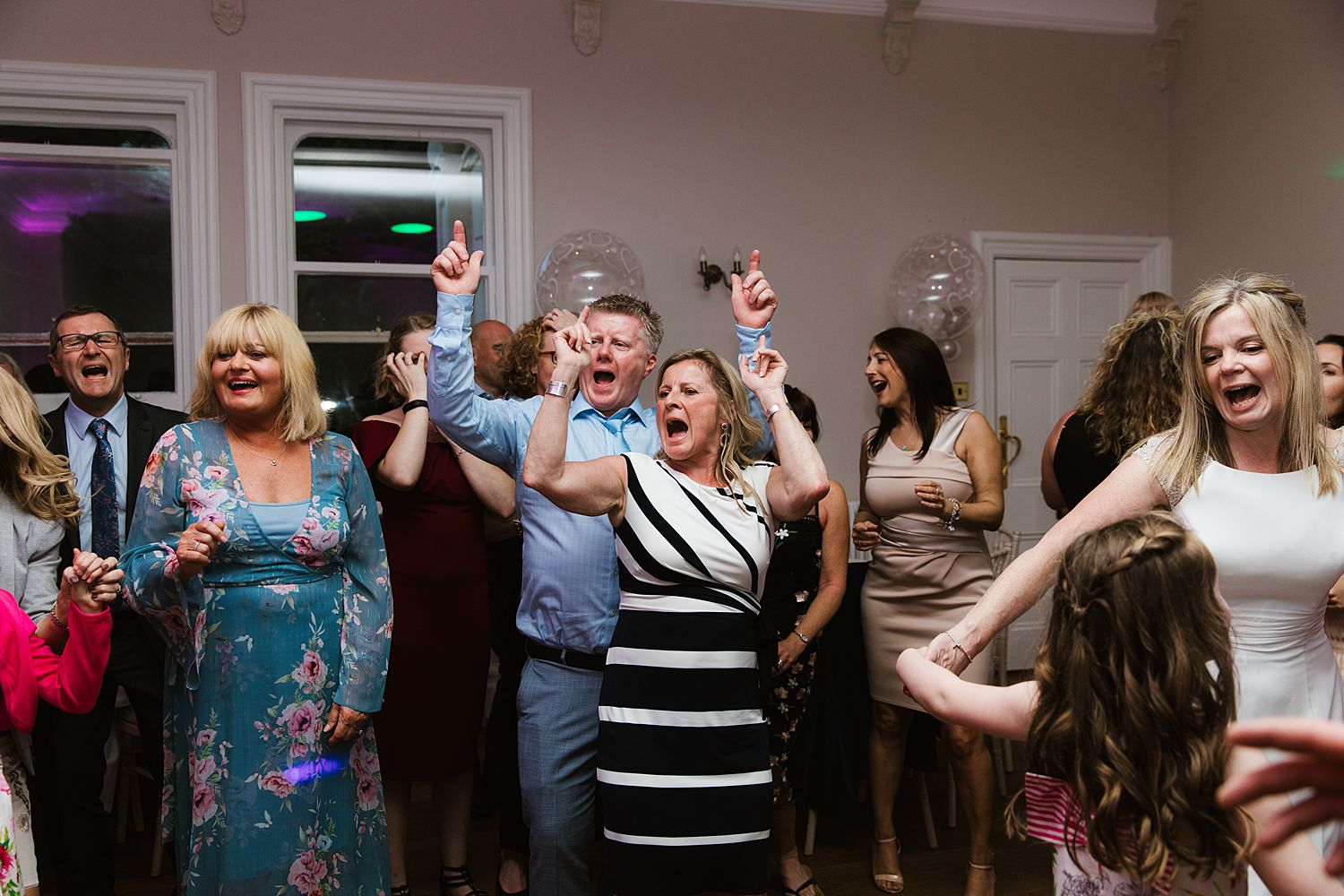 Dancing guests at Lake District wedding venue, Storrs Hall Hotel