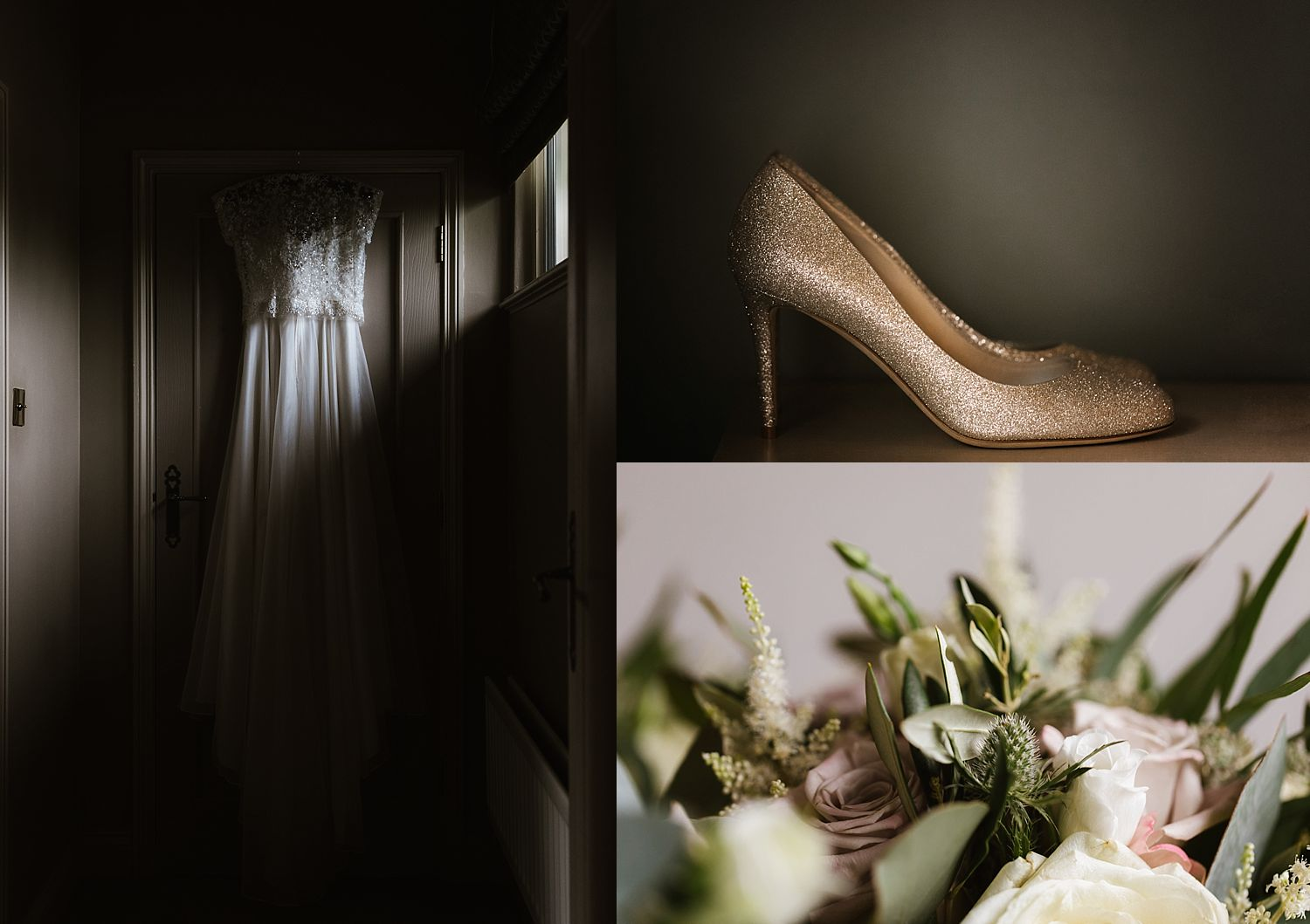 detail images fo Stephanie Allin wedding dress, shoes and flowers by Gabi Burton at The Fine Flowers company