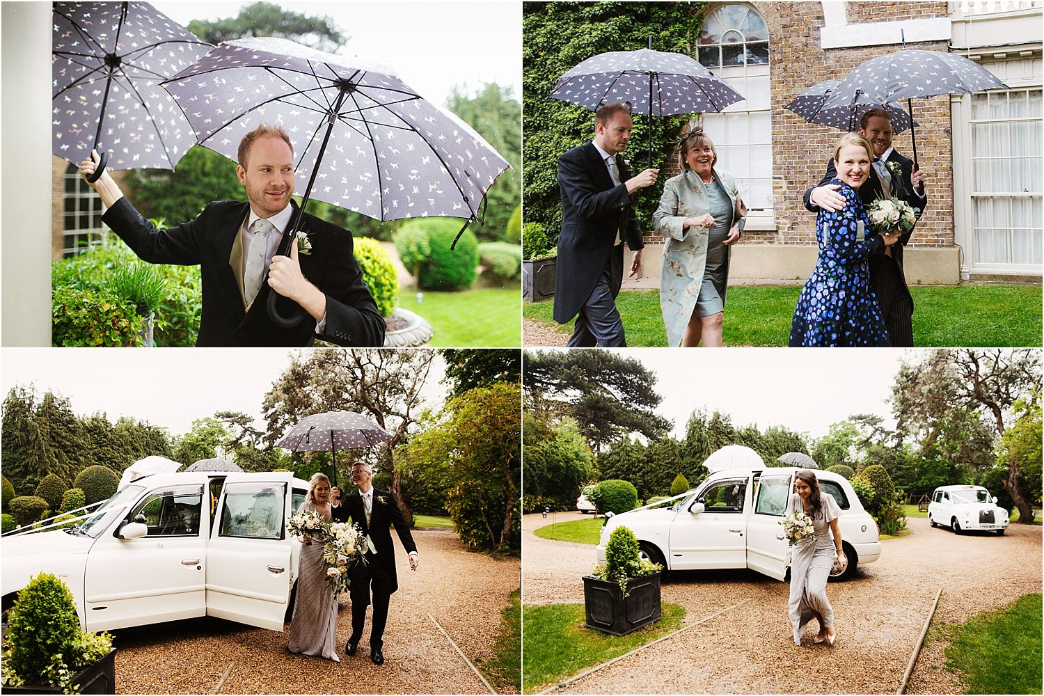 guests and bridesmaids arriving with umbrellas in the rain at Hampton Court House wedding with umbrellas