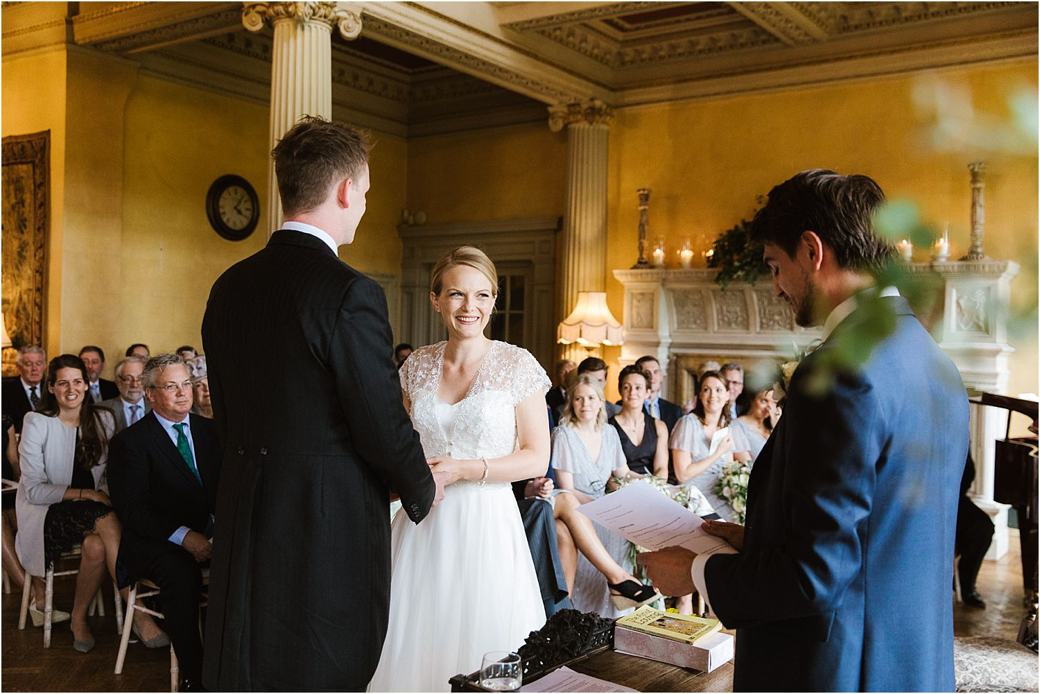 Bride and groom exchange vows at Hampton Court wedding, Surry