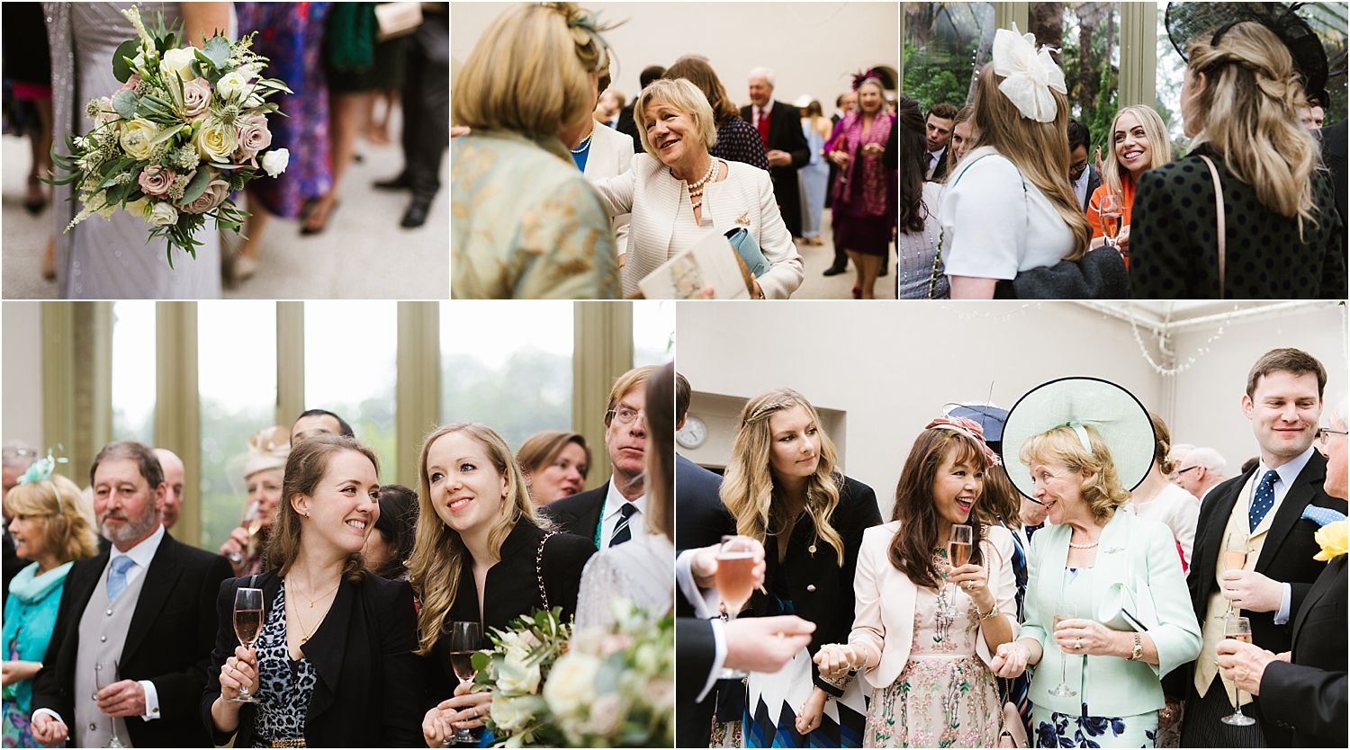 Happy guests mingling at Hampton Court House wedding