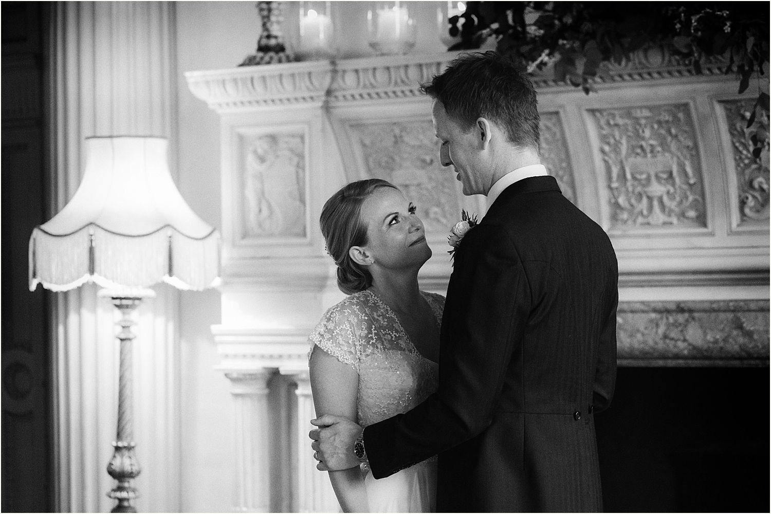 Bride and groom together at Hampton Court House wedding
