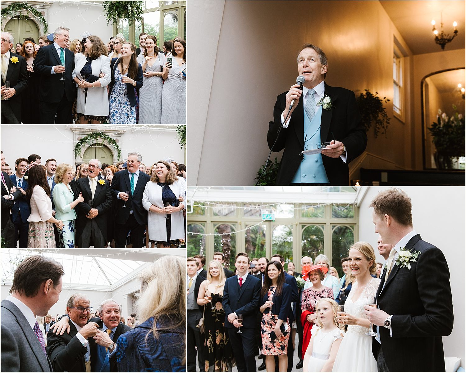 Guests enjoying speeches at Hampton Court House wedding in Surrey