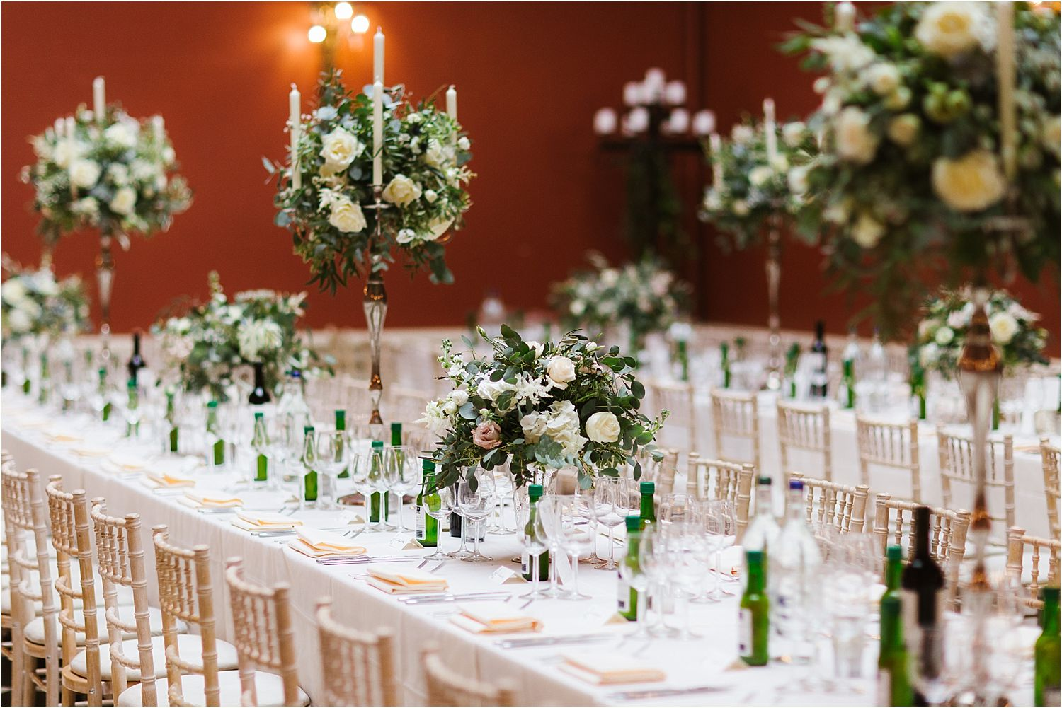 Floral table decorations by Surrey based Florist, Gabi Burton, The Fine Flowers Comapny of Surrey