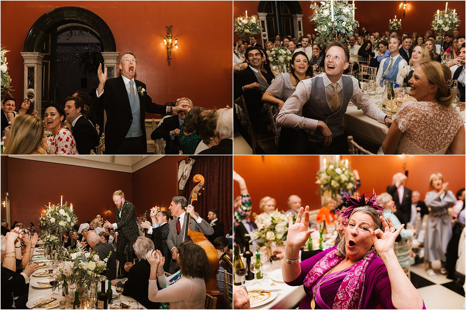 Guests join in with singers, London Essentials at Hampton Court House wedding reception