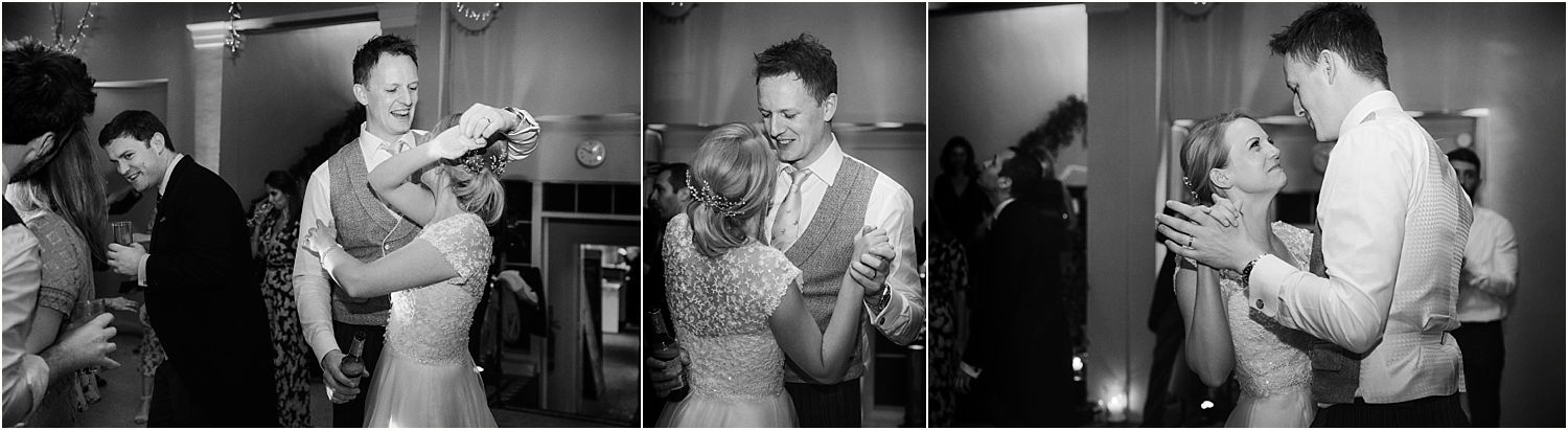 Bride and groom on dancefloor to London Essentials at Hampton Court House wedding