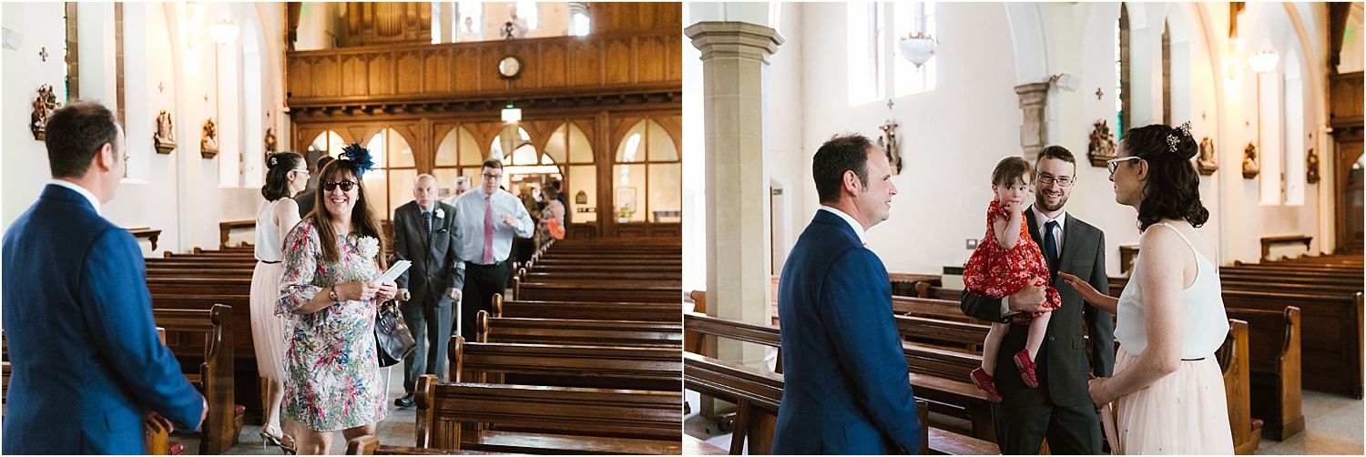 Arrival of guests into church for rural Lancashire wedding
