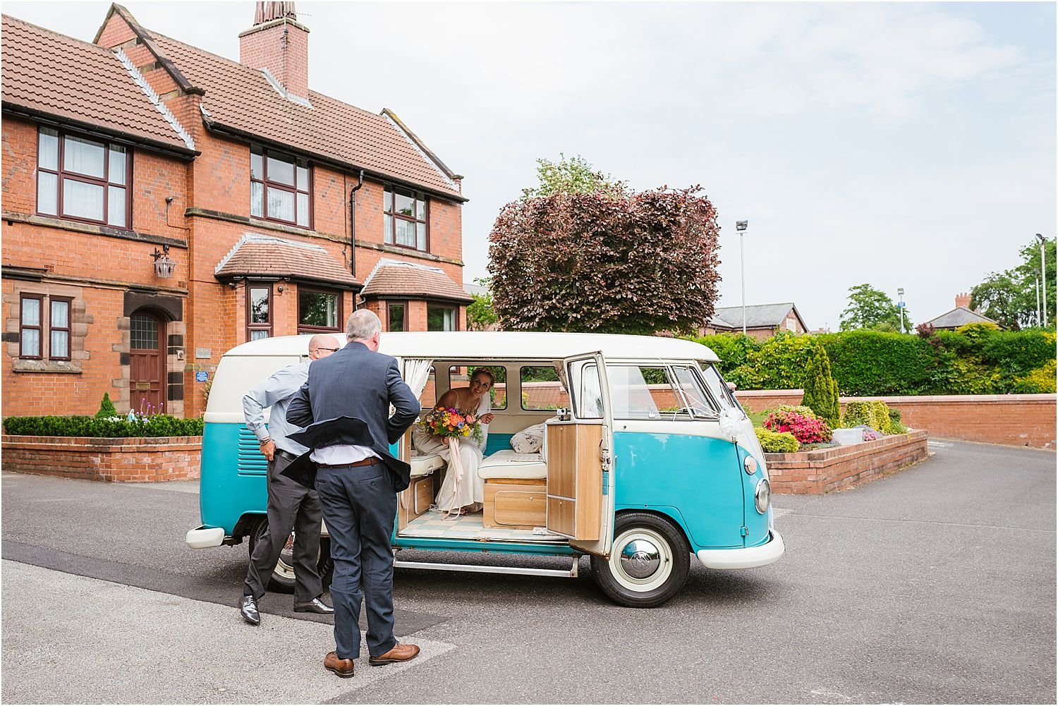 Bride and her father get into camper van hired from Nostalgic Campers, Knutsford Cheshire