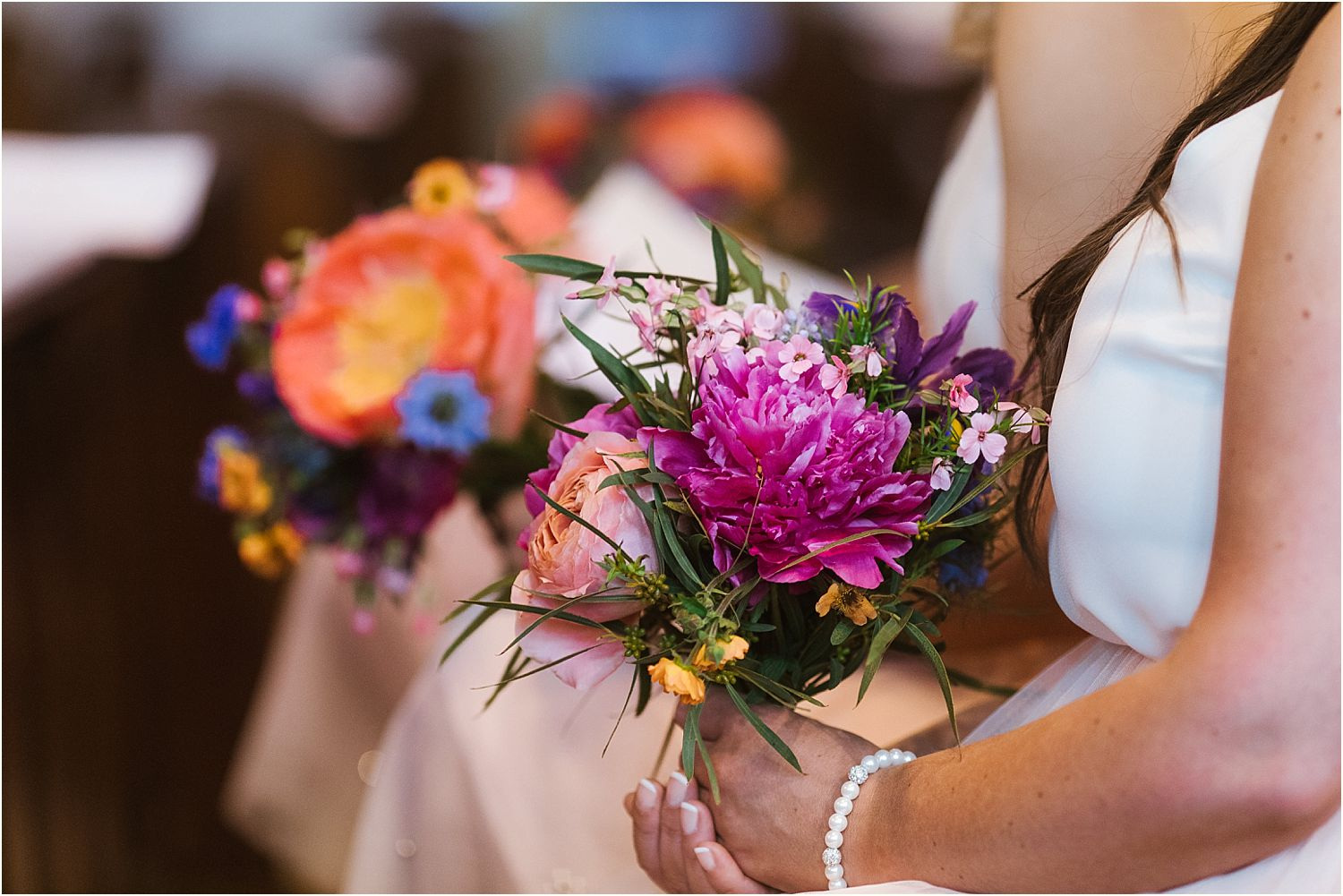 Bridesmaids bouquet by Felicity Farm Flowers at rural Lancashire wedding