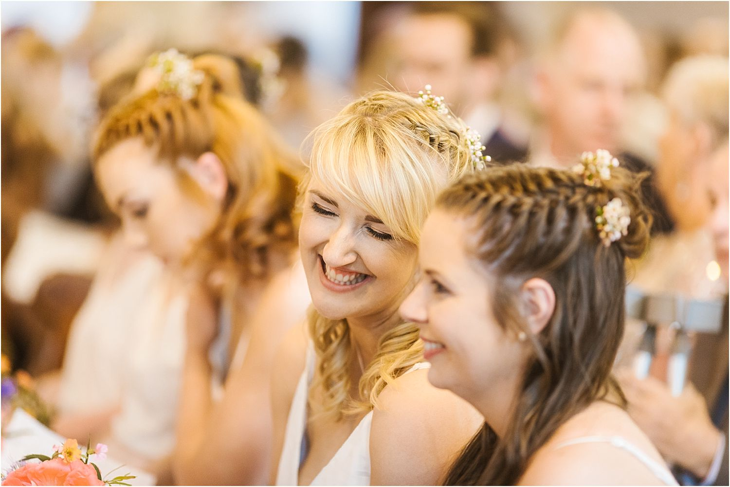 Bridesmaids enjoying the service at rural Lanacashire wedding