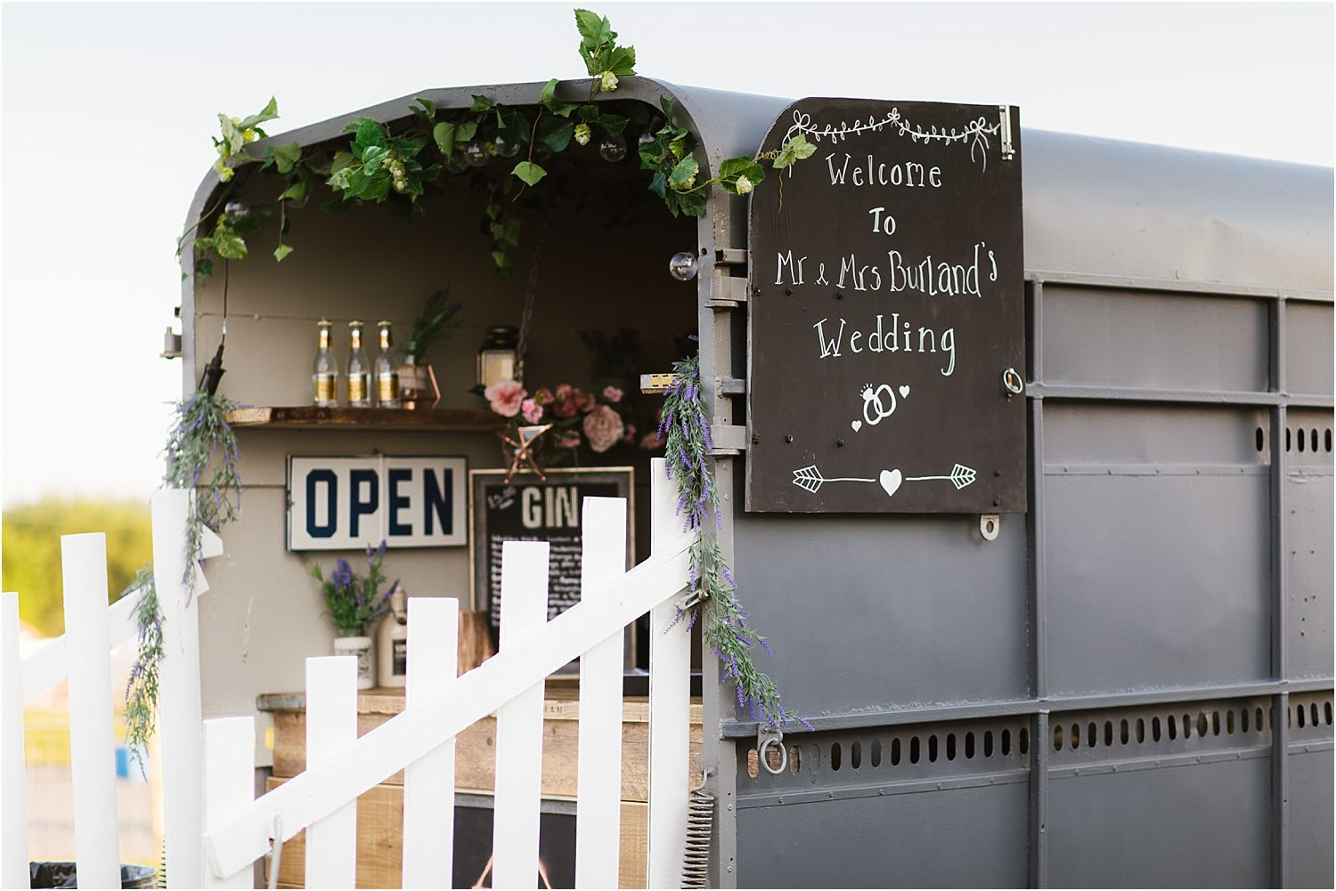 Horse box gin bar at rural Lancashire wedding