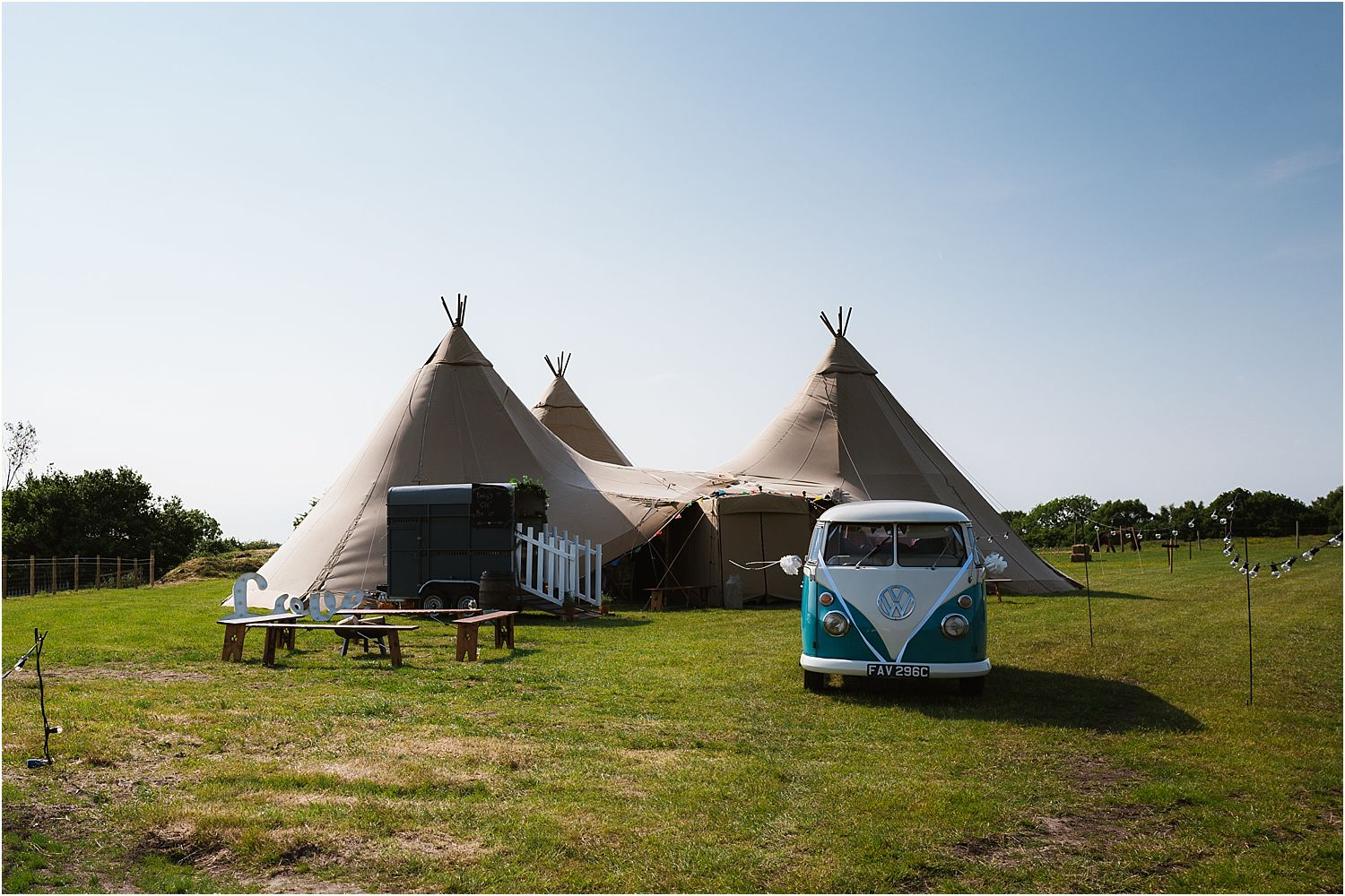 Tipis, by Betty's Tipis and Camper van from Nostalgic Campers at Rural Lancashire wedding