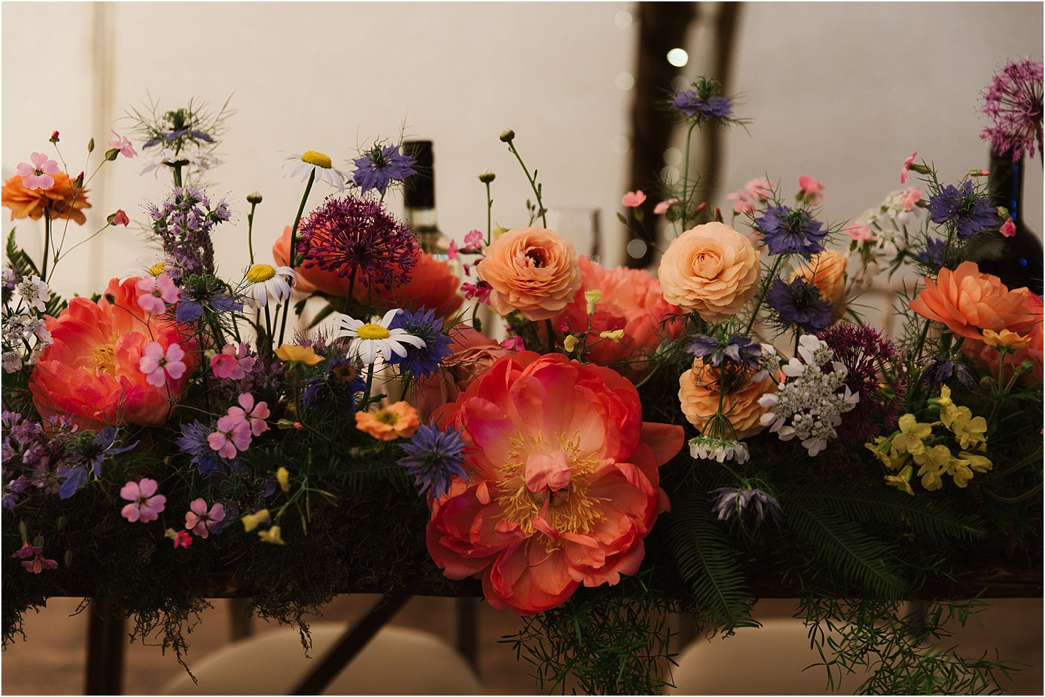 Reception flowers by Felicity Farm Flowers at Lancshire farm wedding