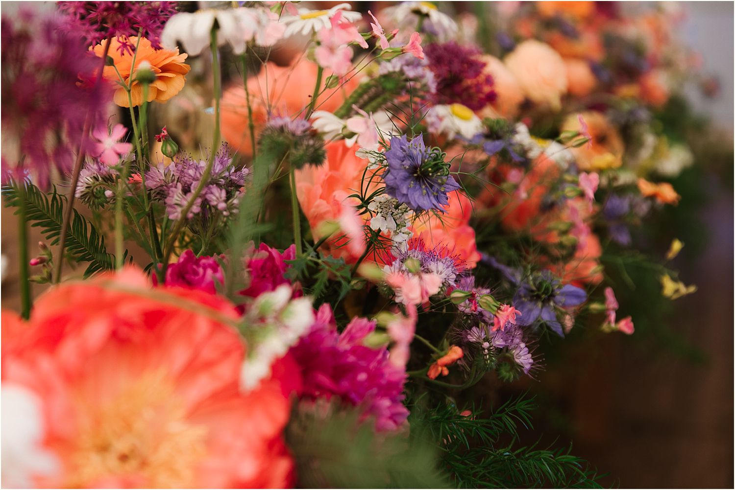 close up of reception flowers by Felicity Farm Flowers of Chorley
