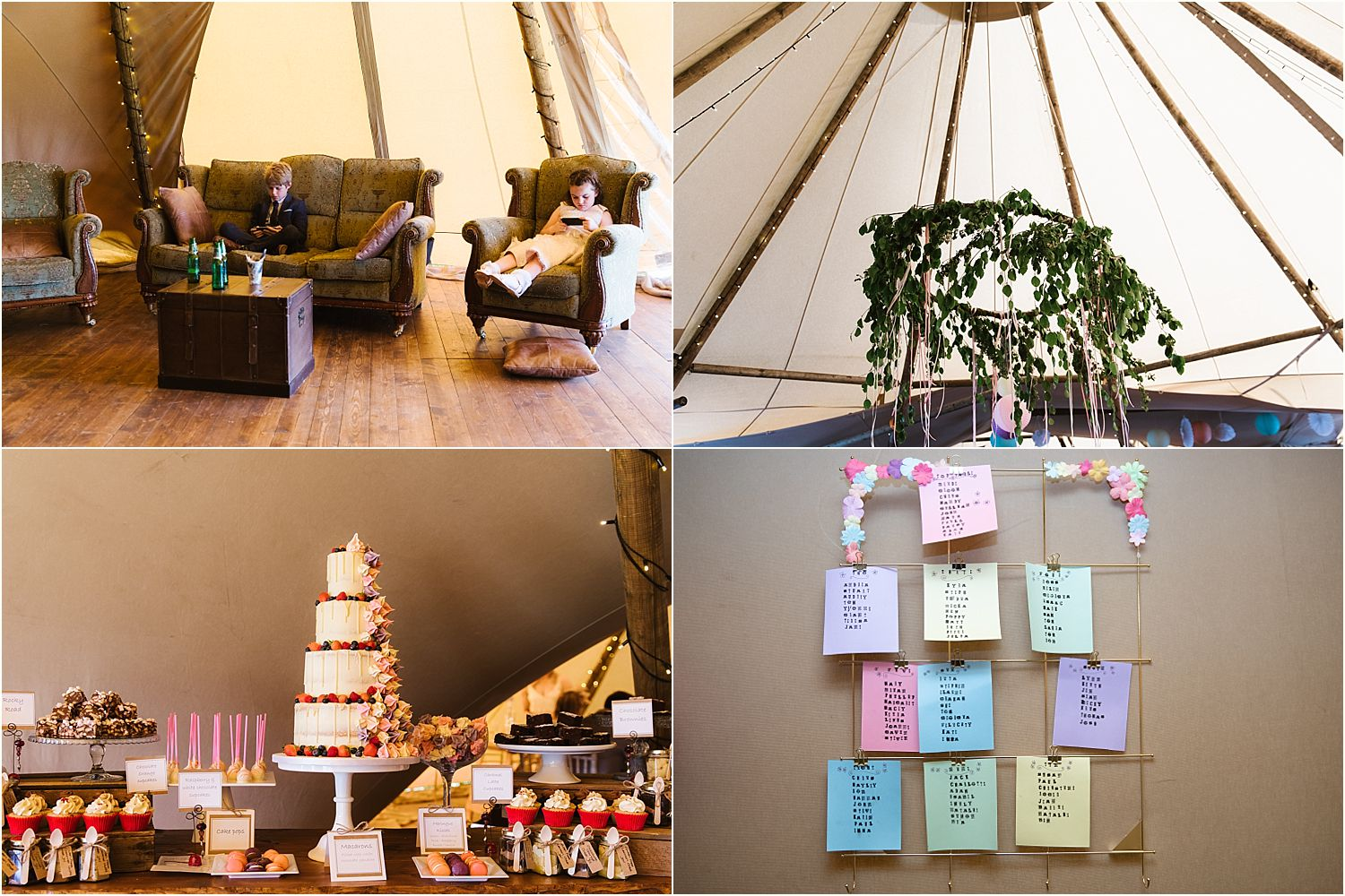 Reception details, inside the tipi from Betty's Tipis of Chorley, cake by Adorable Cakes of Chorley