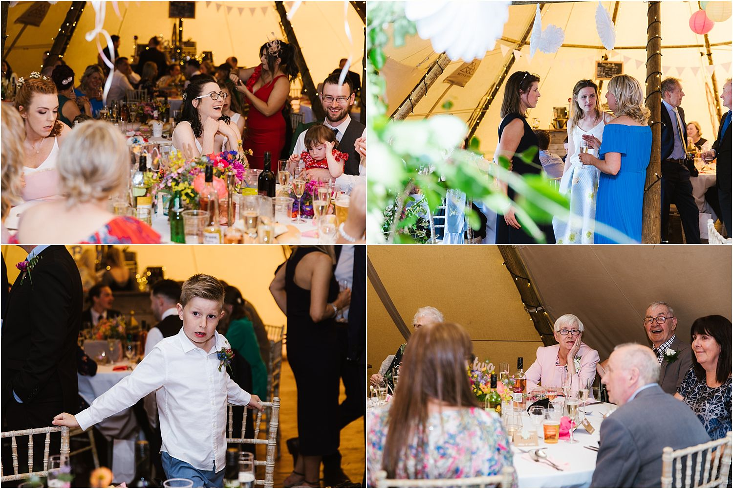 Images from the Tipi reception at Lancashire farm wedding. Tipi by Betty's Tipis in Chorley