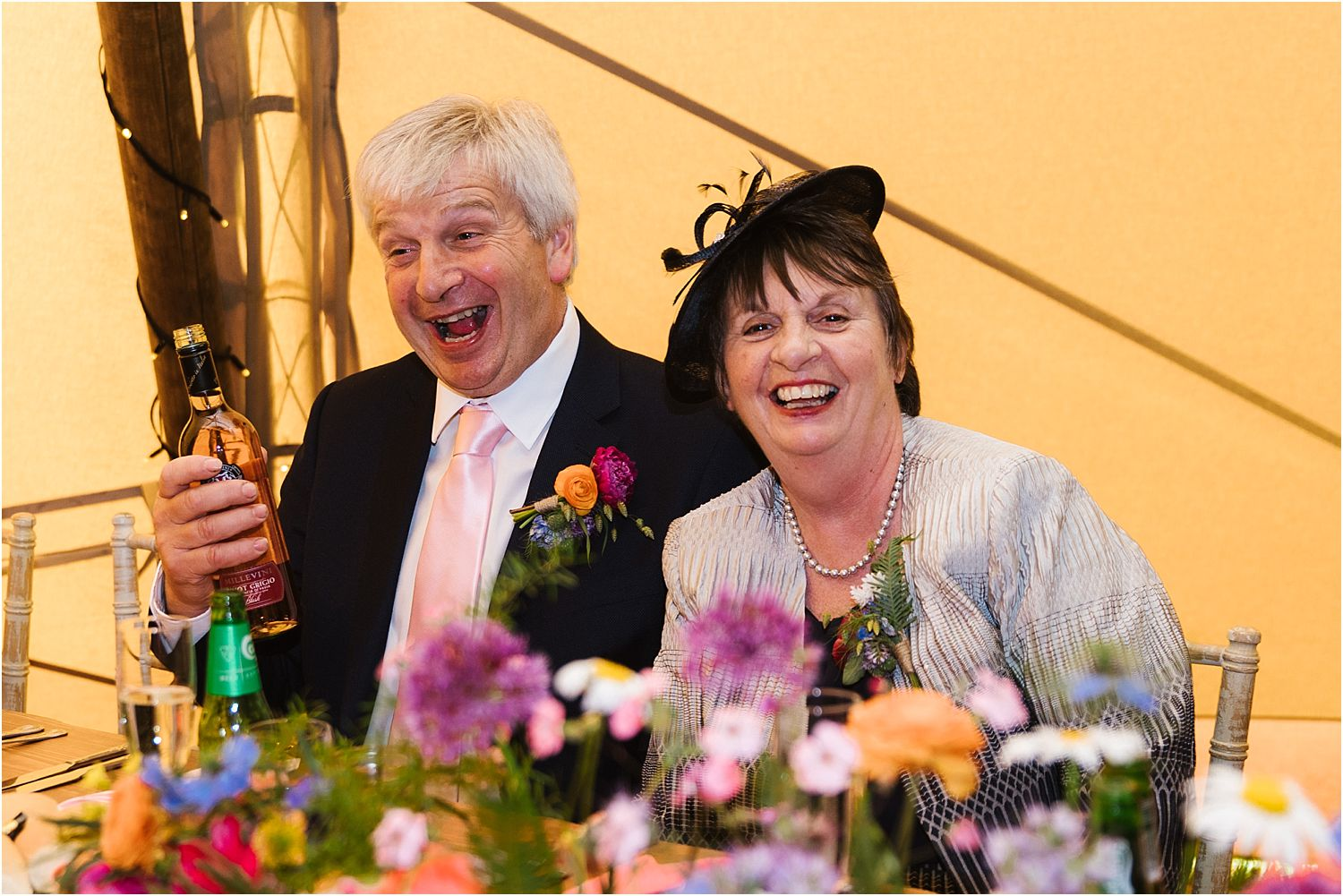 Guest enjoying tipi reception at rural Lancashire wedding