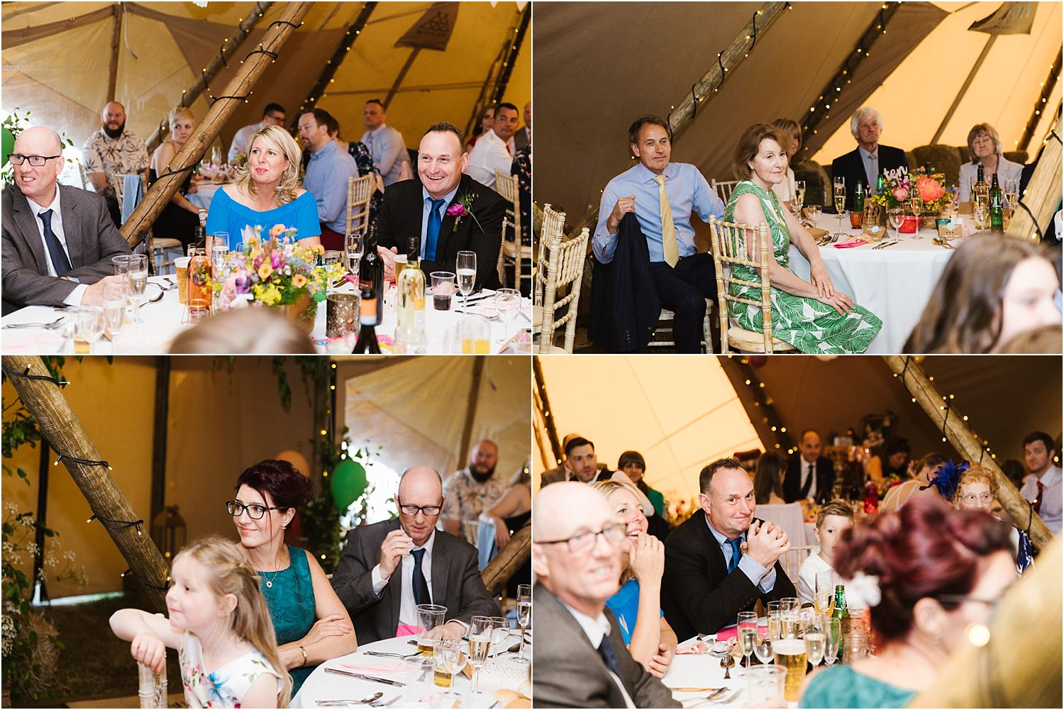 Reception guests at rural Lancashire wedding. Tipi by Betty's Tipis of Chorley