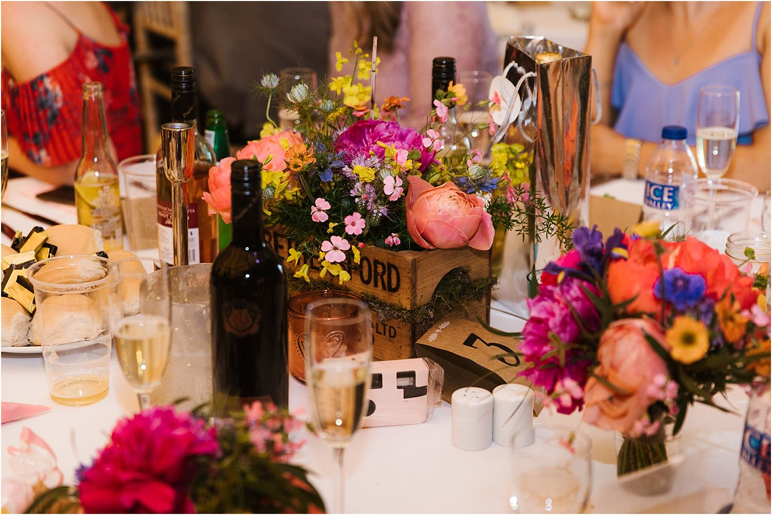 Table detail at Lancashire tipi wedding. Flowers by Felicity Farm Flowers of Chorley