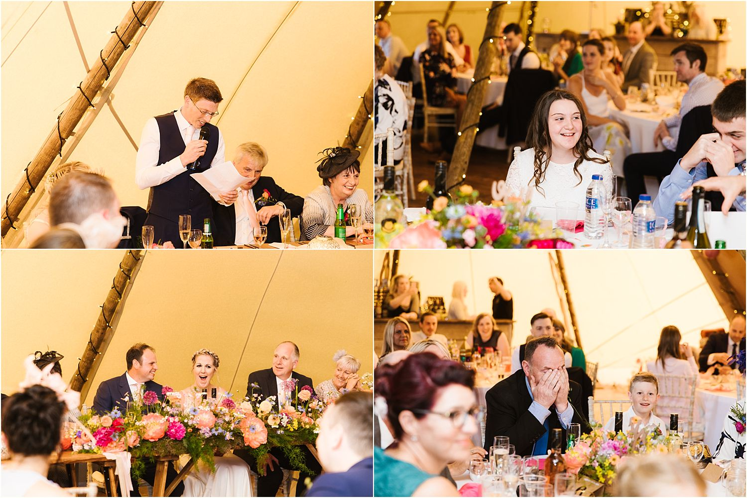 Guests enjoy best man's speech at Lancashire farm tipi wedding