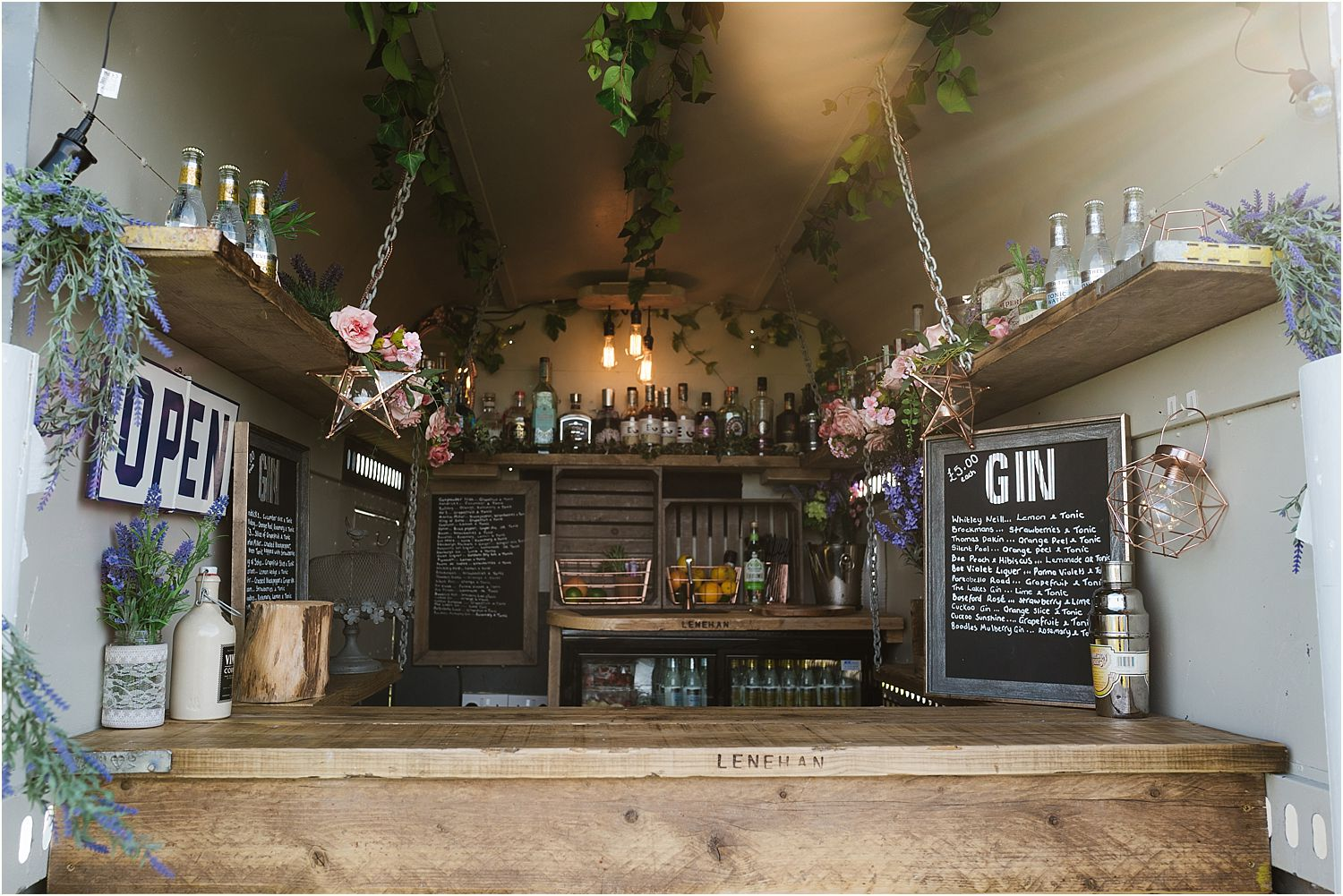 Interior of horse box bar at Lancashire farm wedding