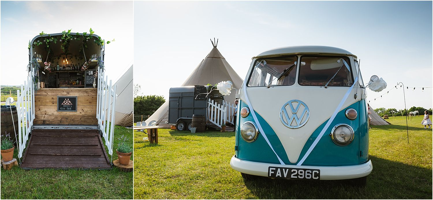 Horse box bar and camper van from Nostalgic Campers of Knutsford at Lancashire farm wedding