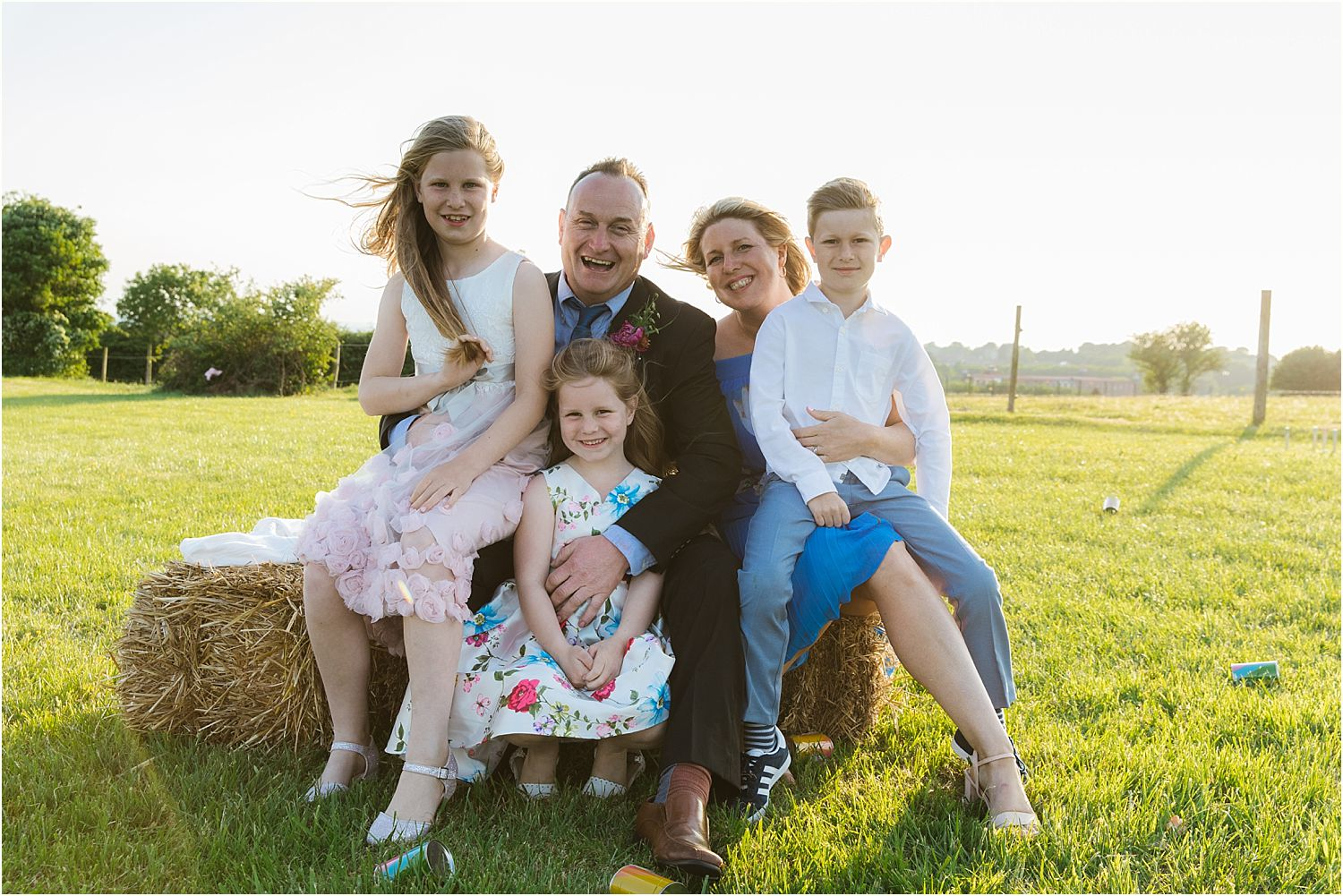 Family group portrait at wedding at rural Lancashire farm