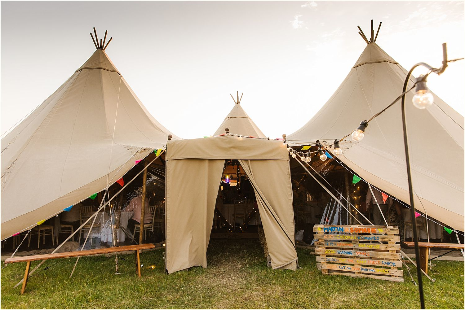 Lancashire farm Tipi wedding external view of tipi by Betty's Tipis of Chorley, Lancashire