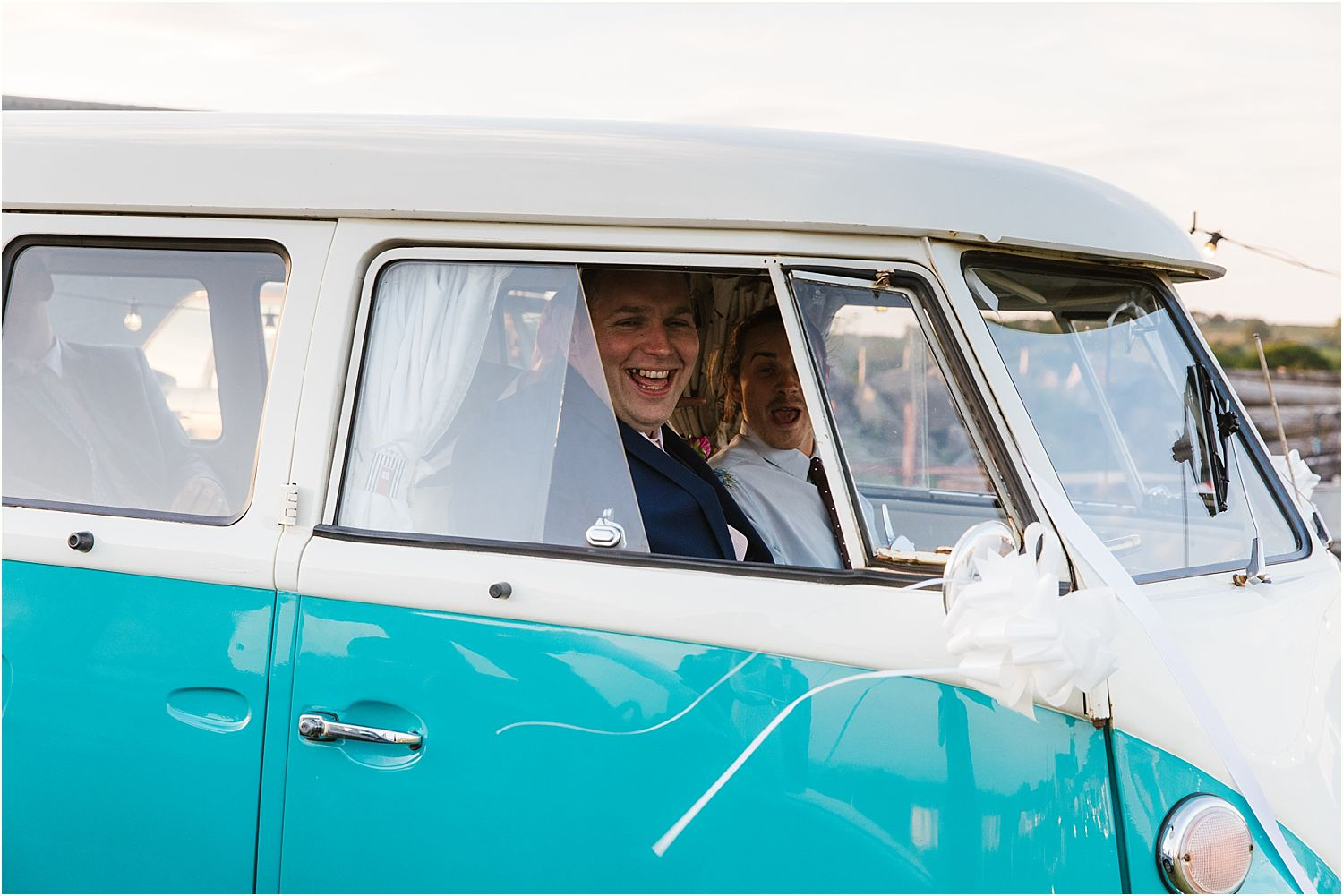 Bridegroom and guests in camper van, by Nostalgic Camper Vans of Knutsford, Cheshire